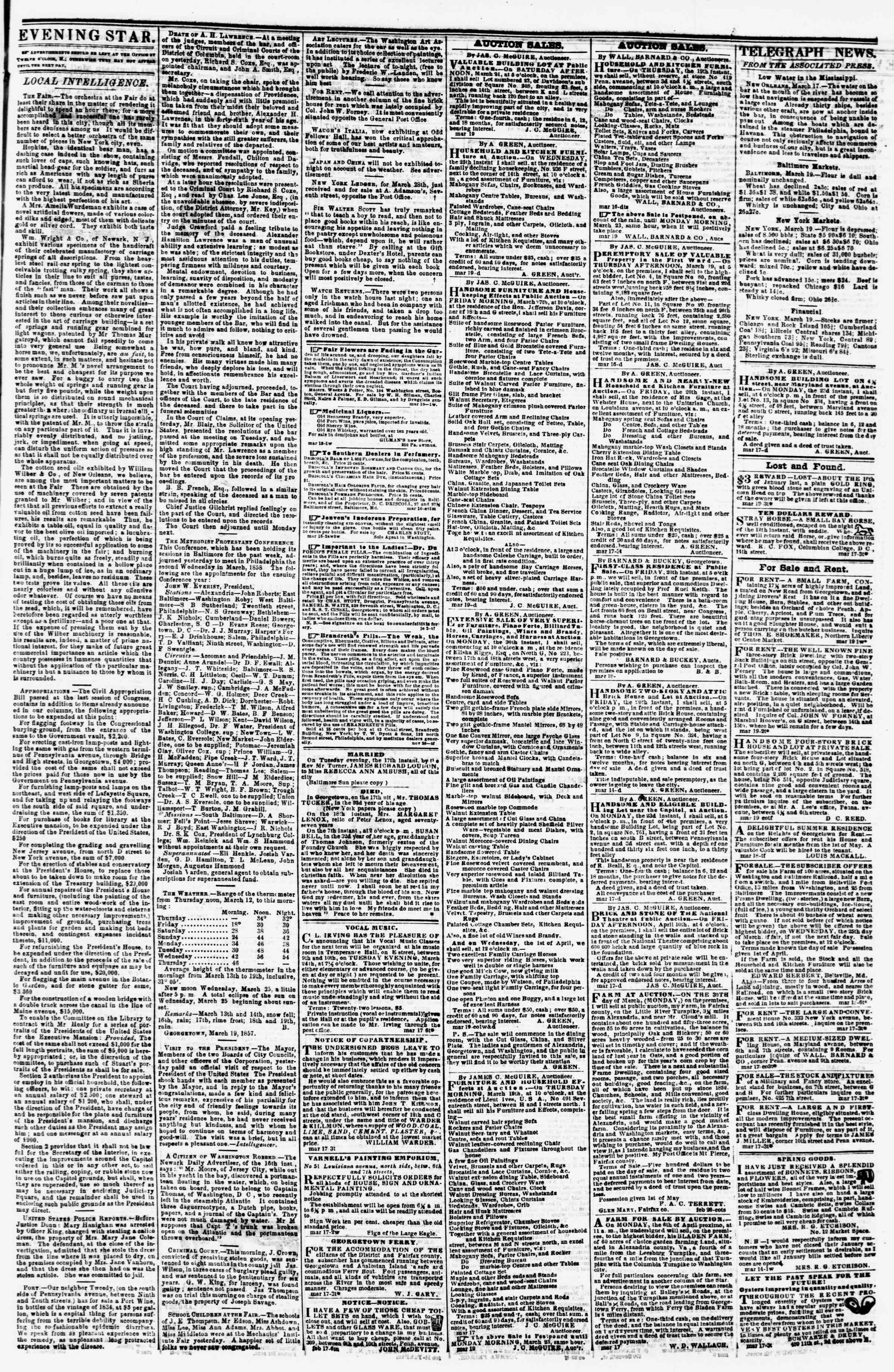 Newspaper of Evening Star dated March 19, 1857 Page 3