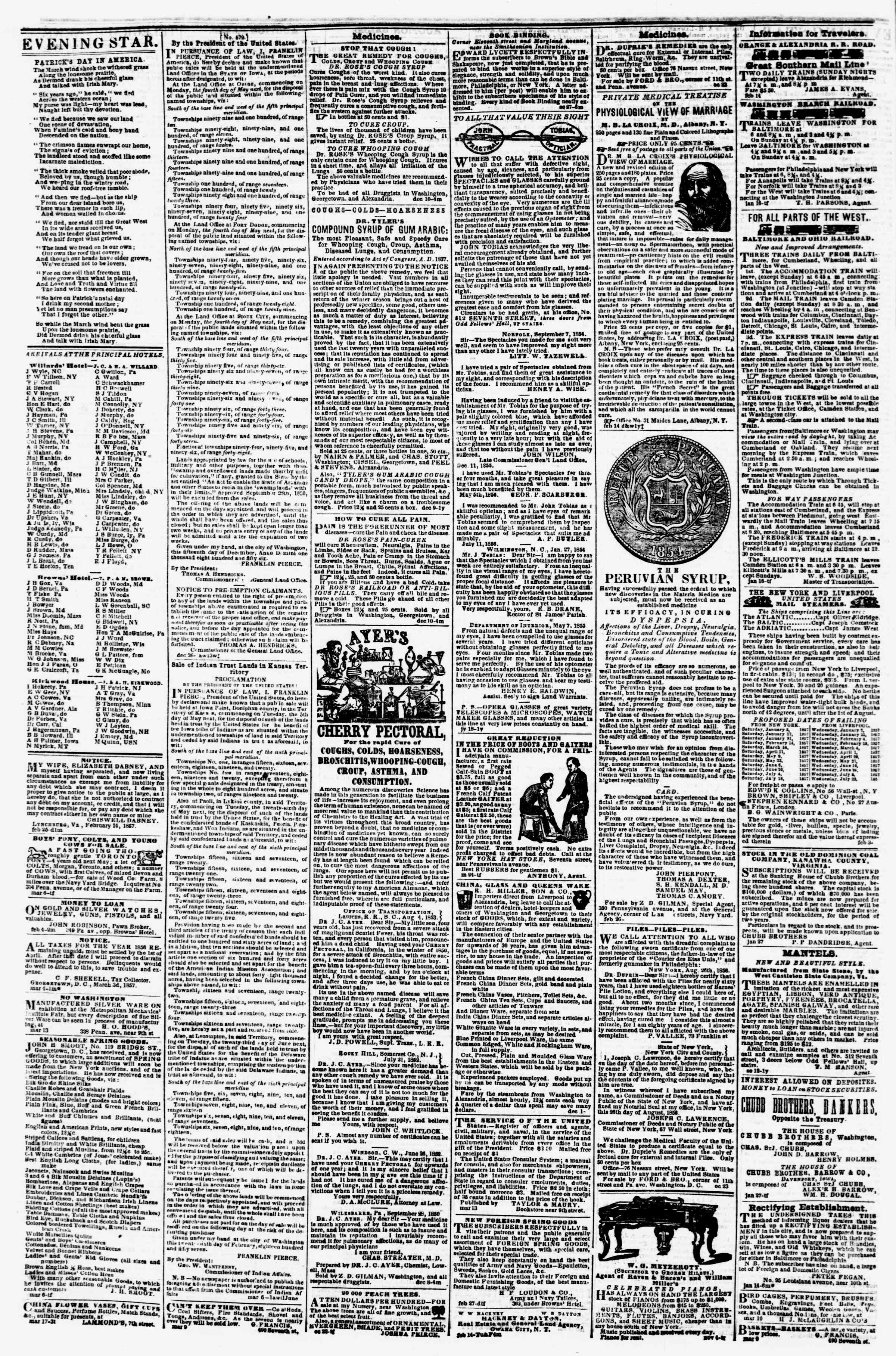 Newspaper of Evening Star dated March 19, 1857 Page 4