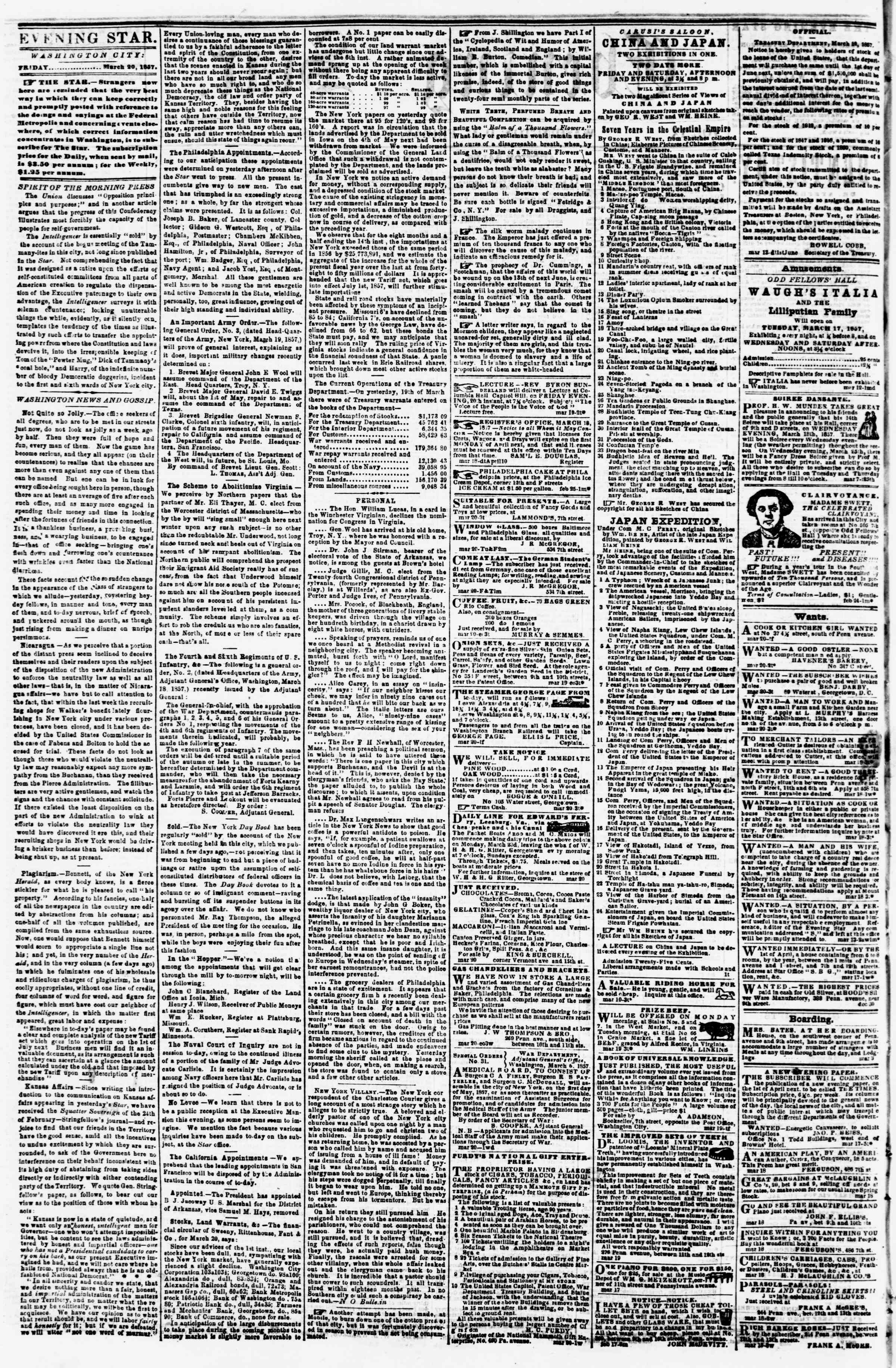 Newspaper of Evening Star dated March 20, 1857 Page 2