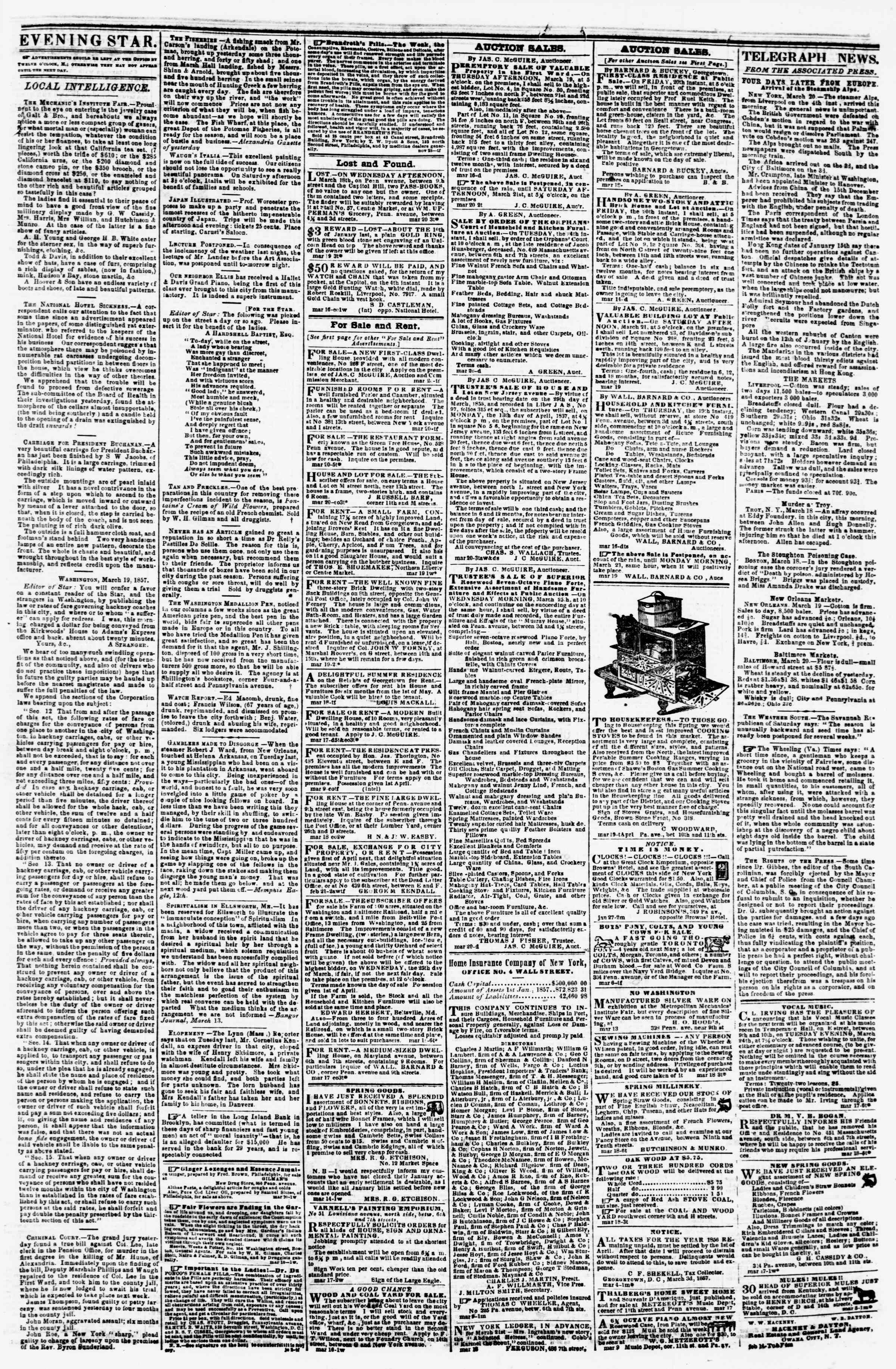 Newspaper of Evening Star dated March 20, 1857 Page 3