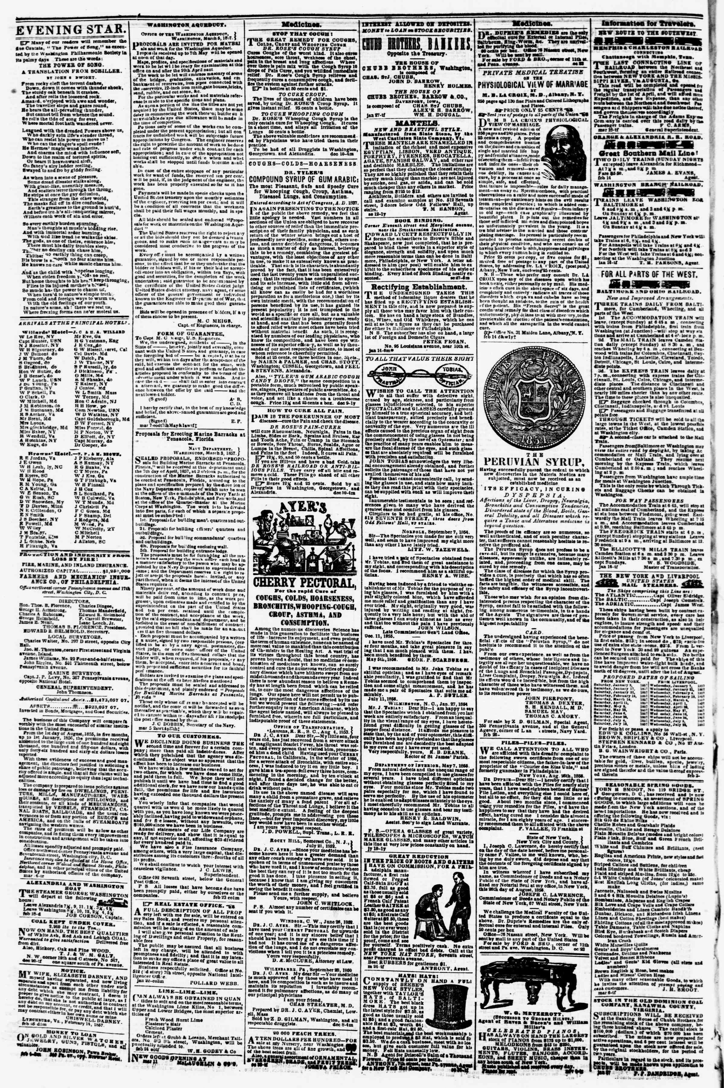 Newspaper of Evening Star dated March 20, 1857 Page 4