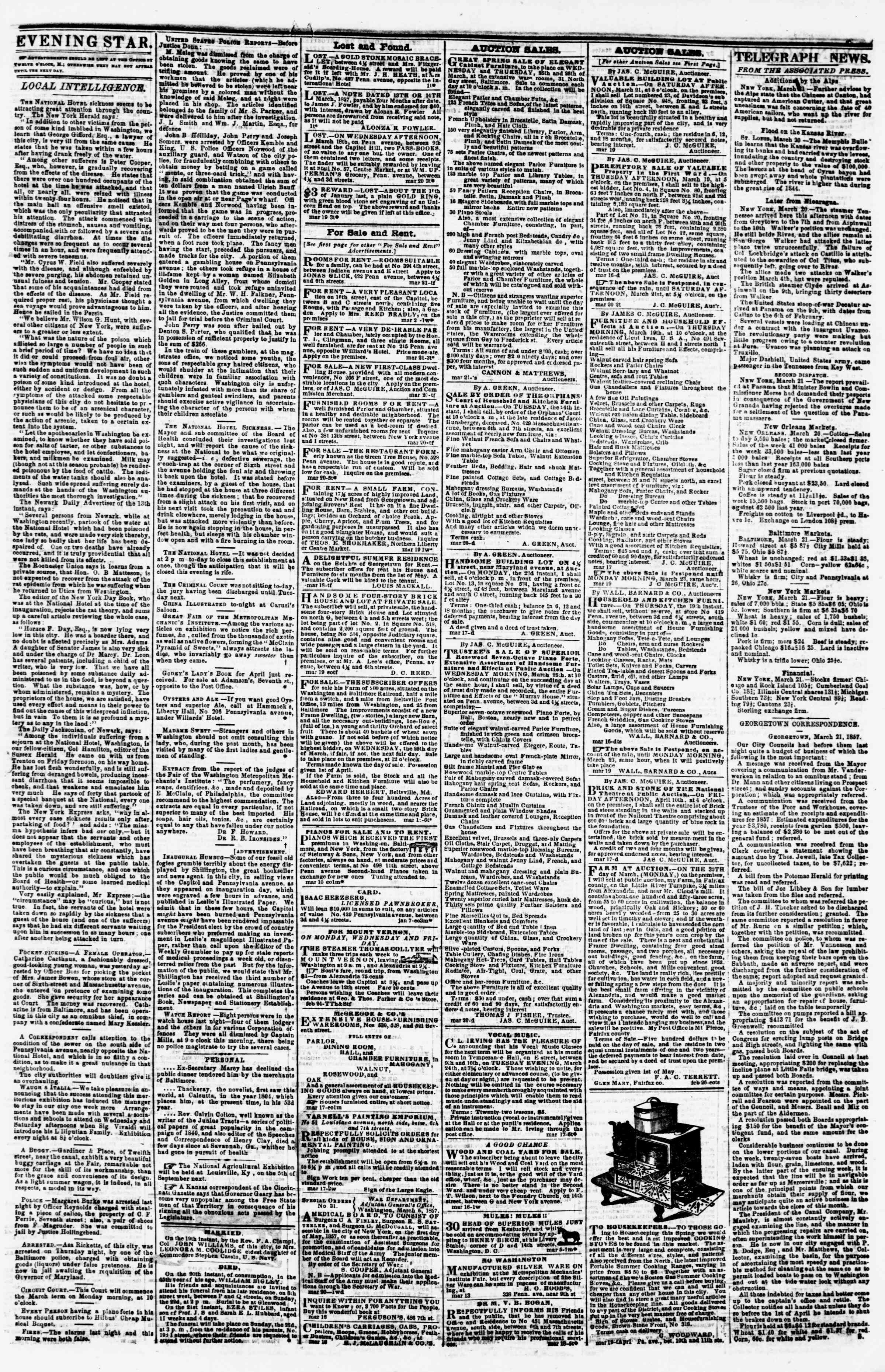 Newspaper of Evening Star dated March 21, 1857 Page 3