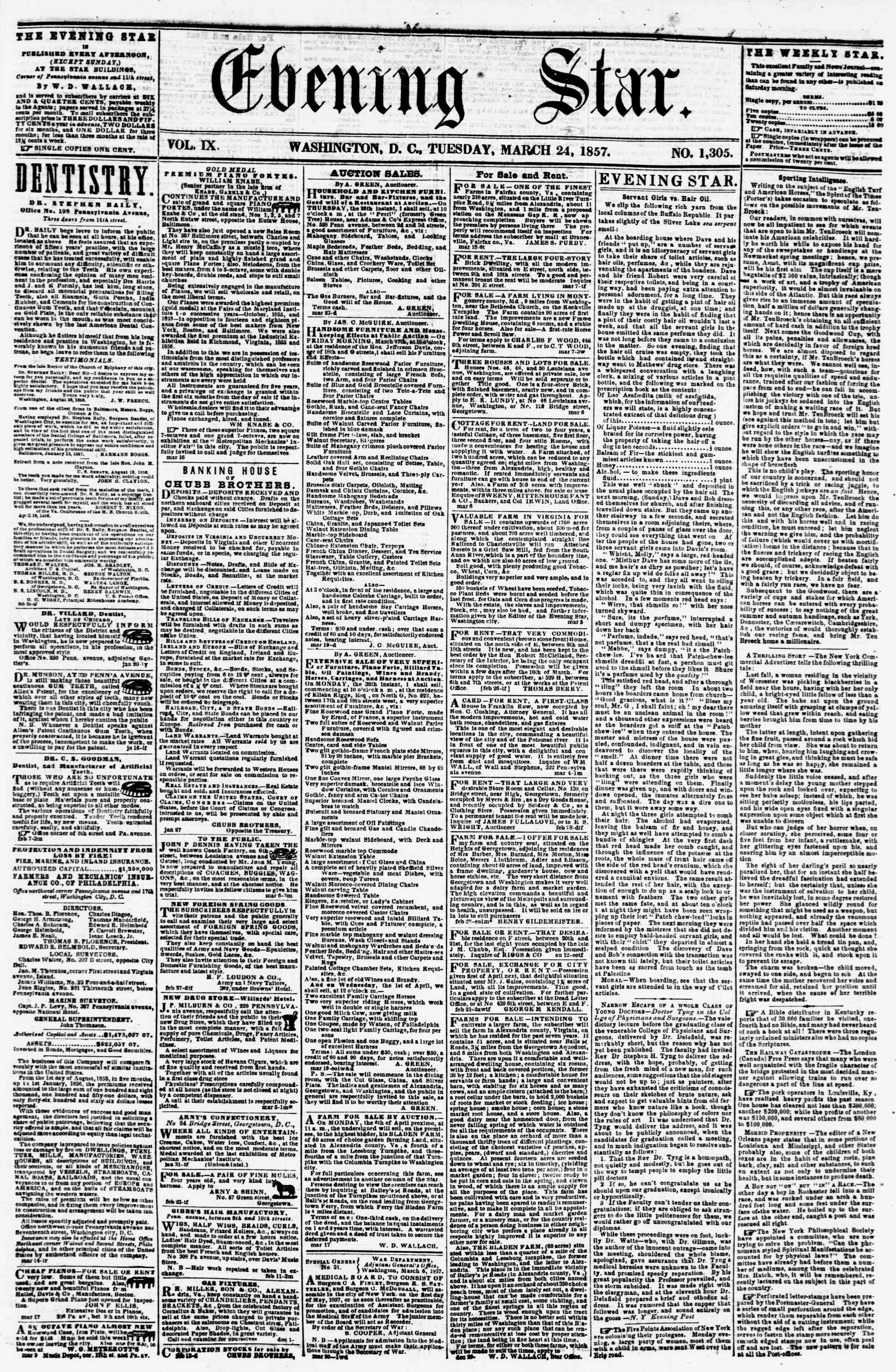 Newspaper of Evening Star dated March 24, 1857 Page 1