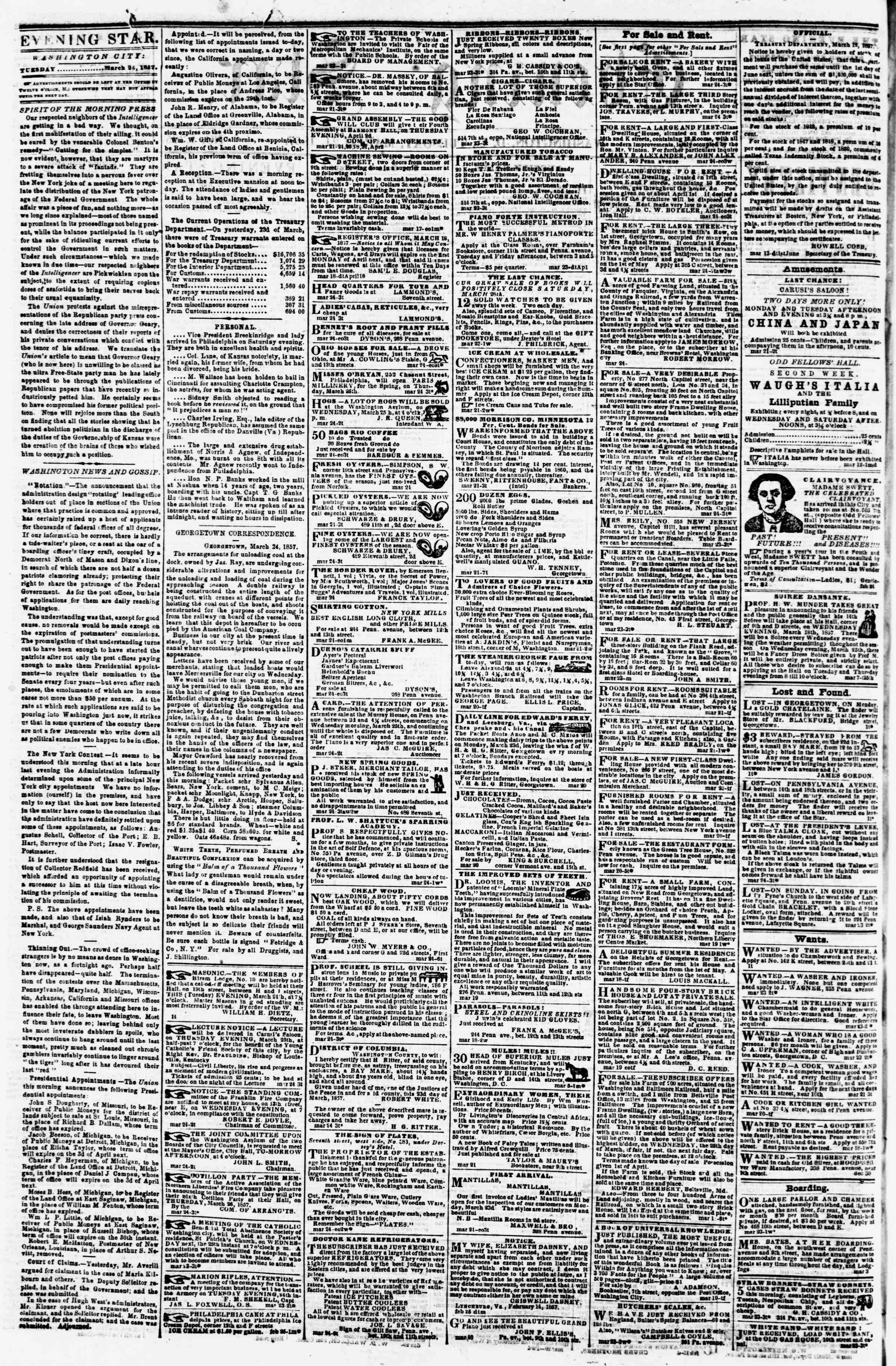 Newspaper of Evening Star dated March 24, 1857 Page 2