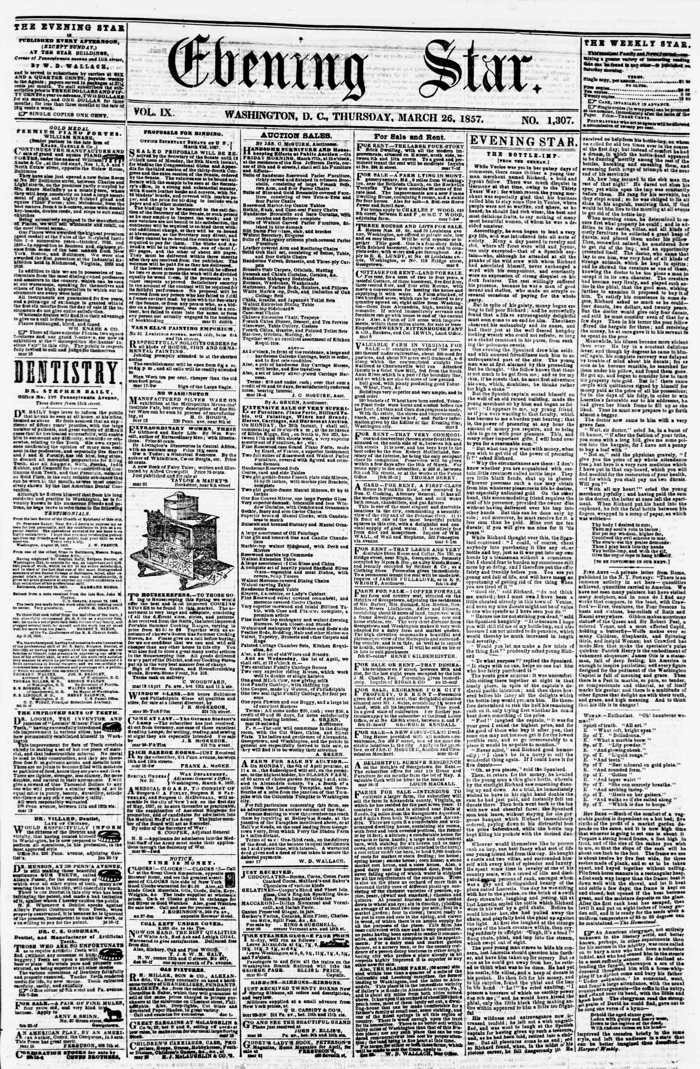 Newspaper of Evening Star dated March 26, 1857 Page 1