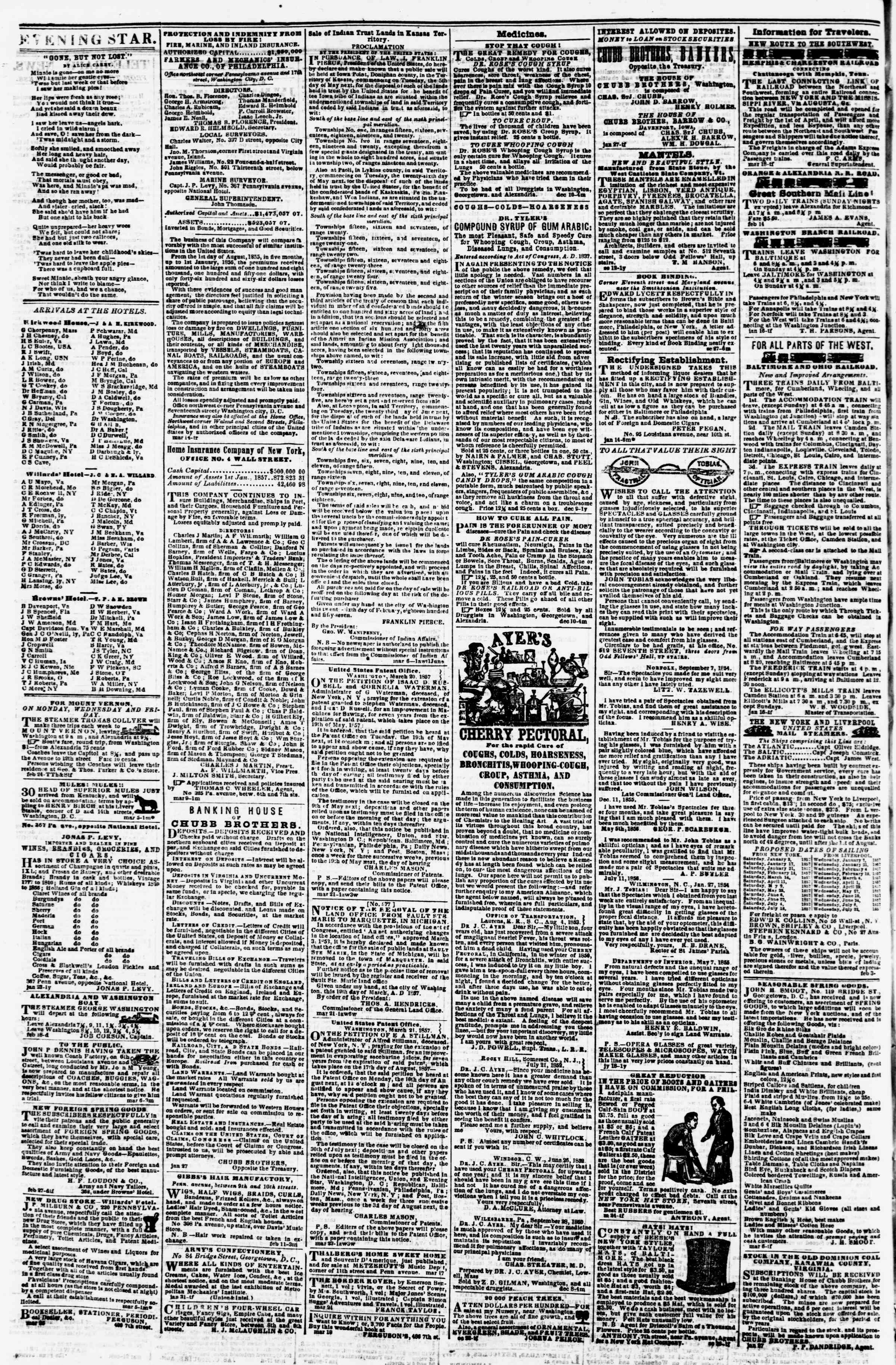 Newspaper of Evening Star dated March 26, 1857 Page 4
