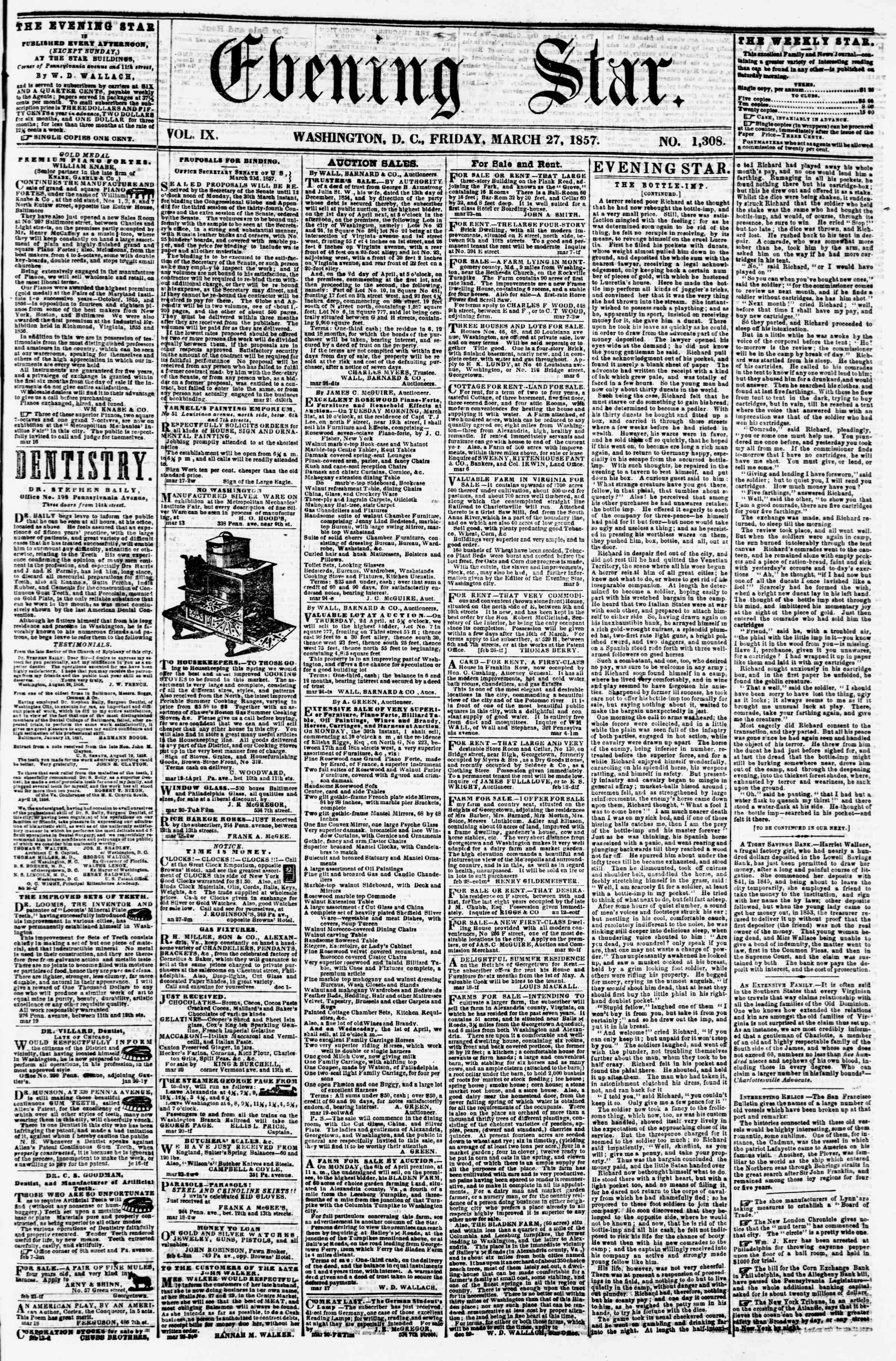 Newspaper of Evening Star dated March 27, 1857 Page 1