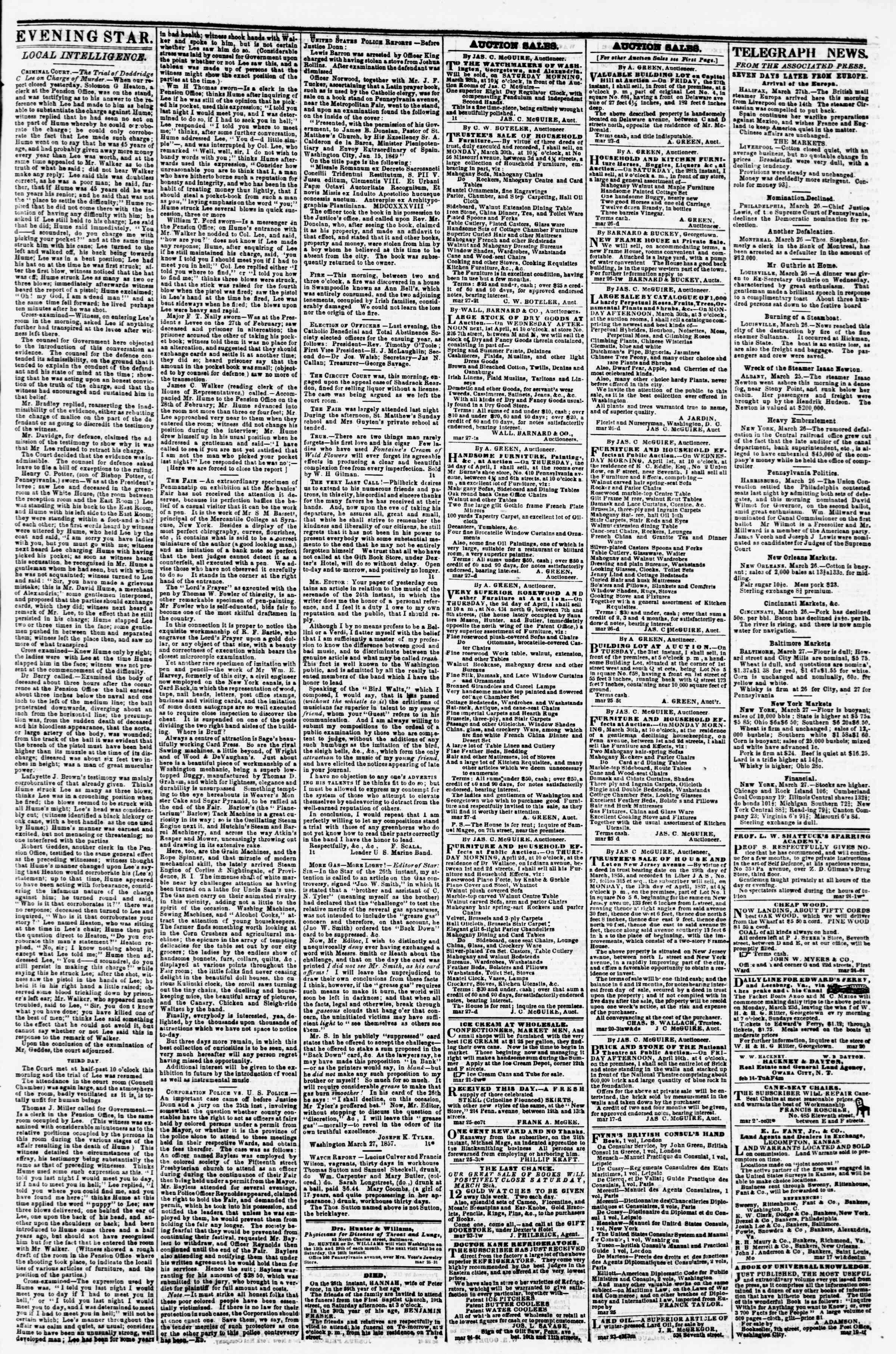 Newspaper of Evening Star dated March 27, 1857 Page 3