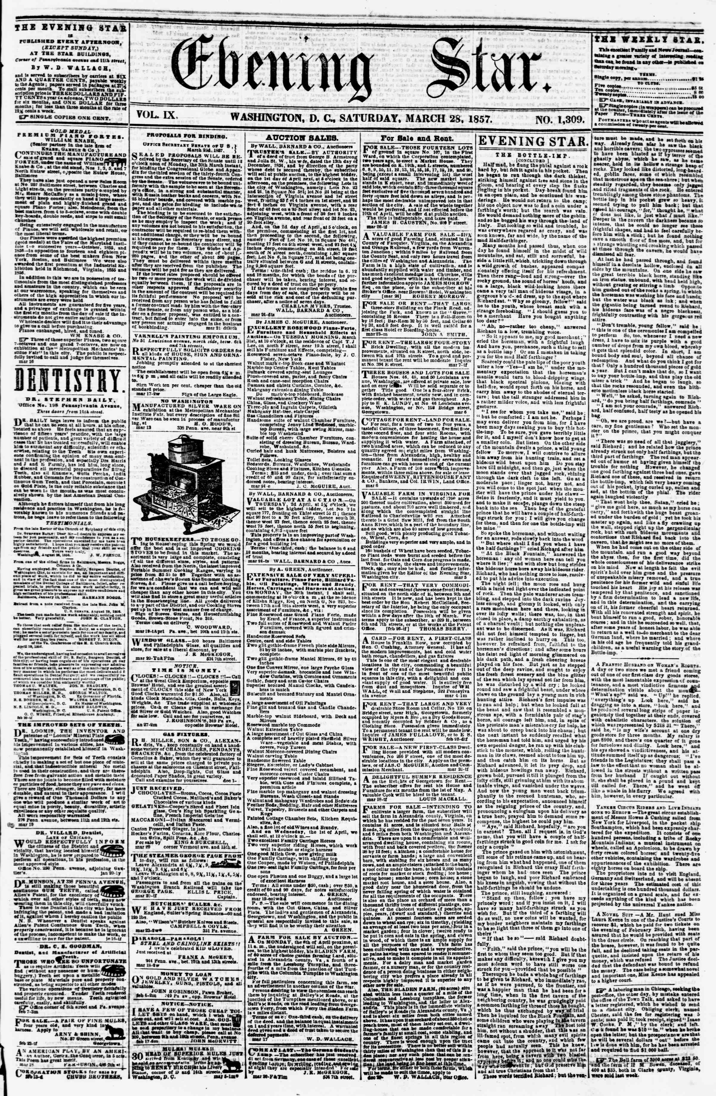 Newspaper of Evening Star dated March 28, 1857 Page 1