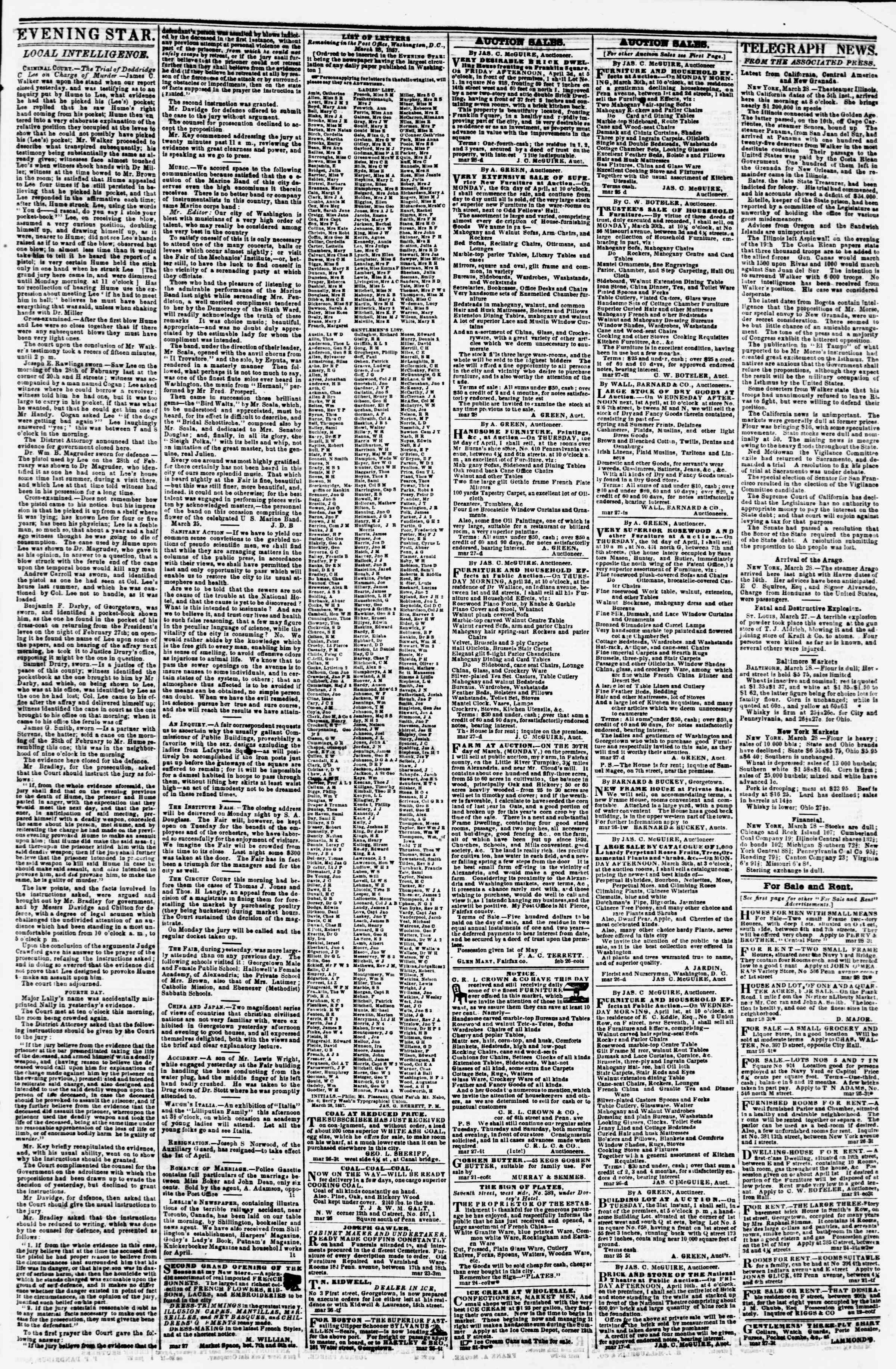 Newspaper of Evening Star dated March 28, 1857 Page 3