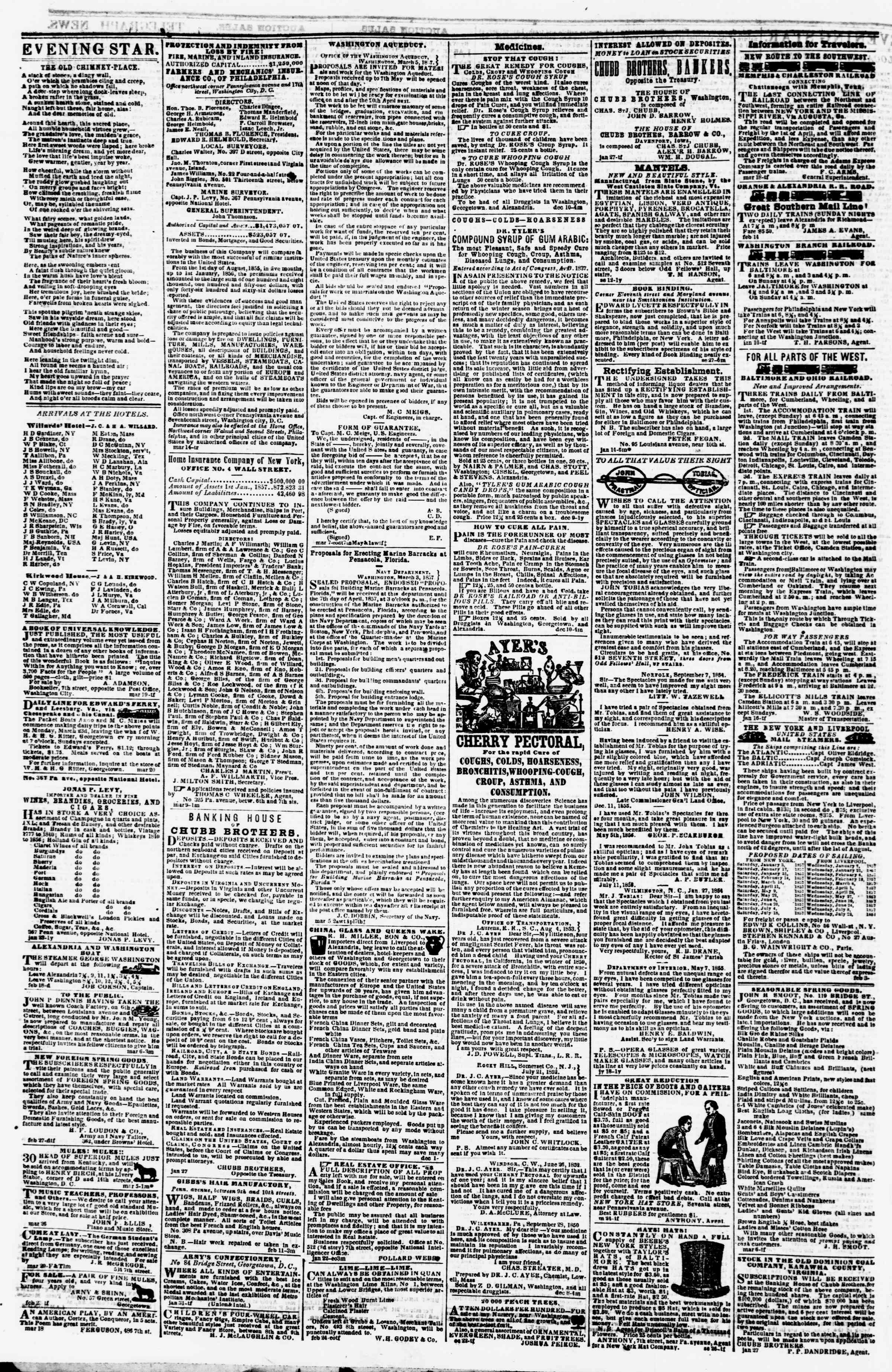 Newspaper of Evening Star dated March 30, 1857 Page 4