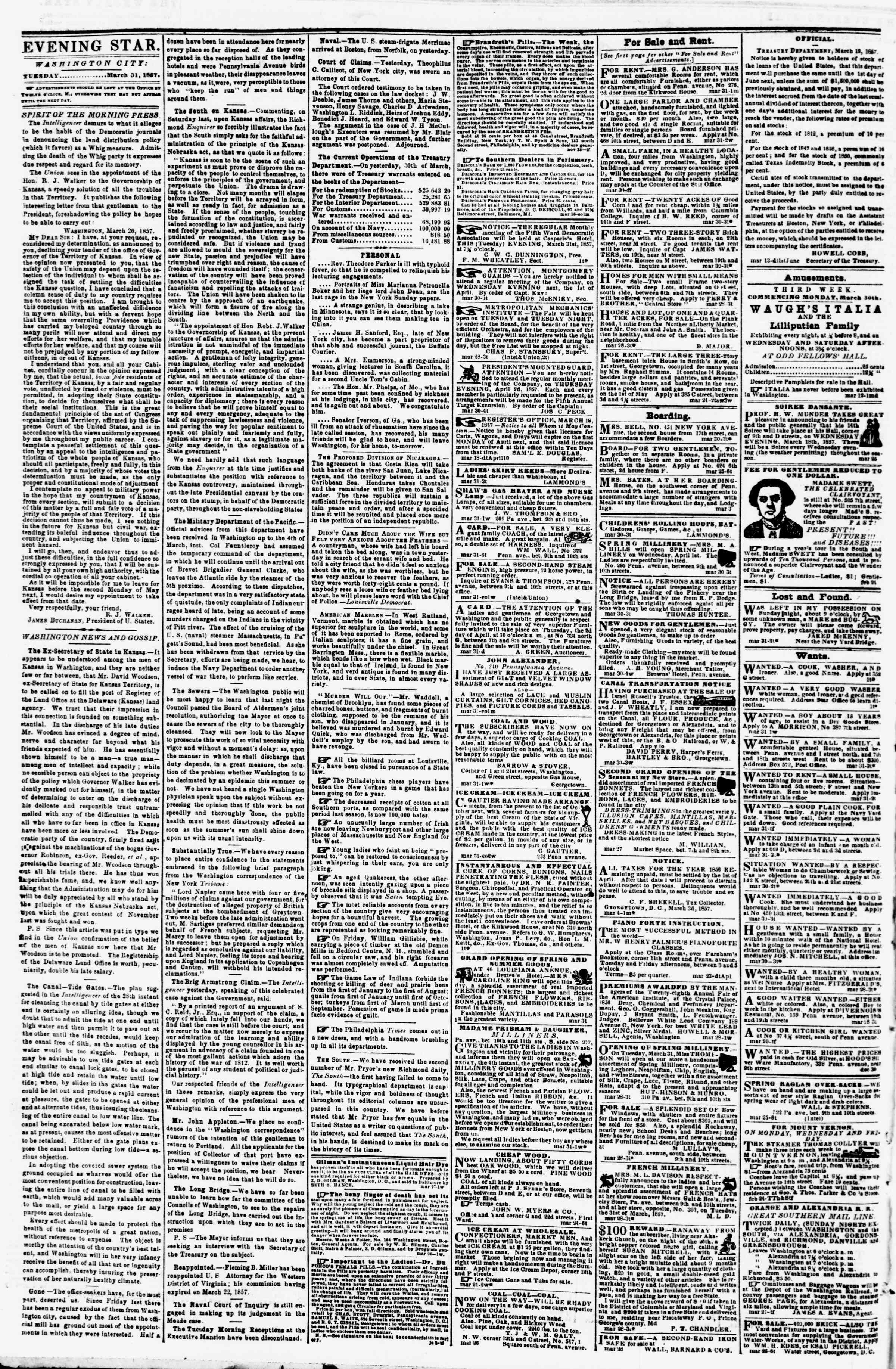 Newspaper of Evening Star dated March 31, 1857 Page 2