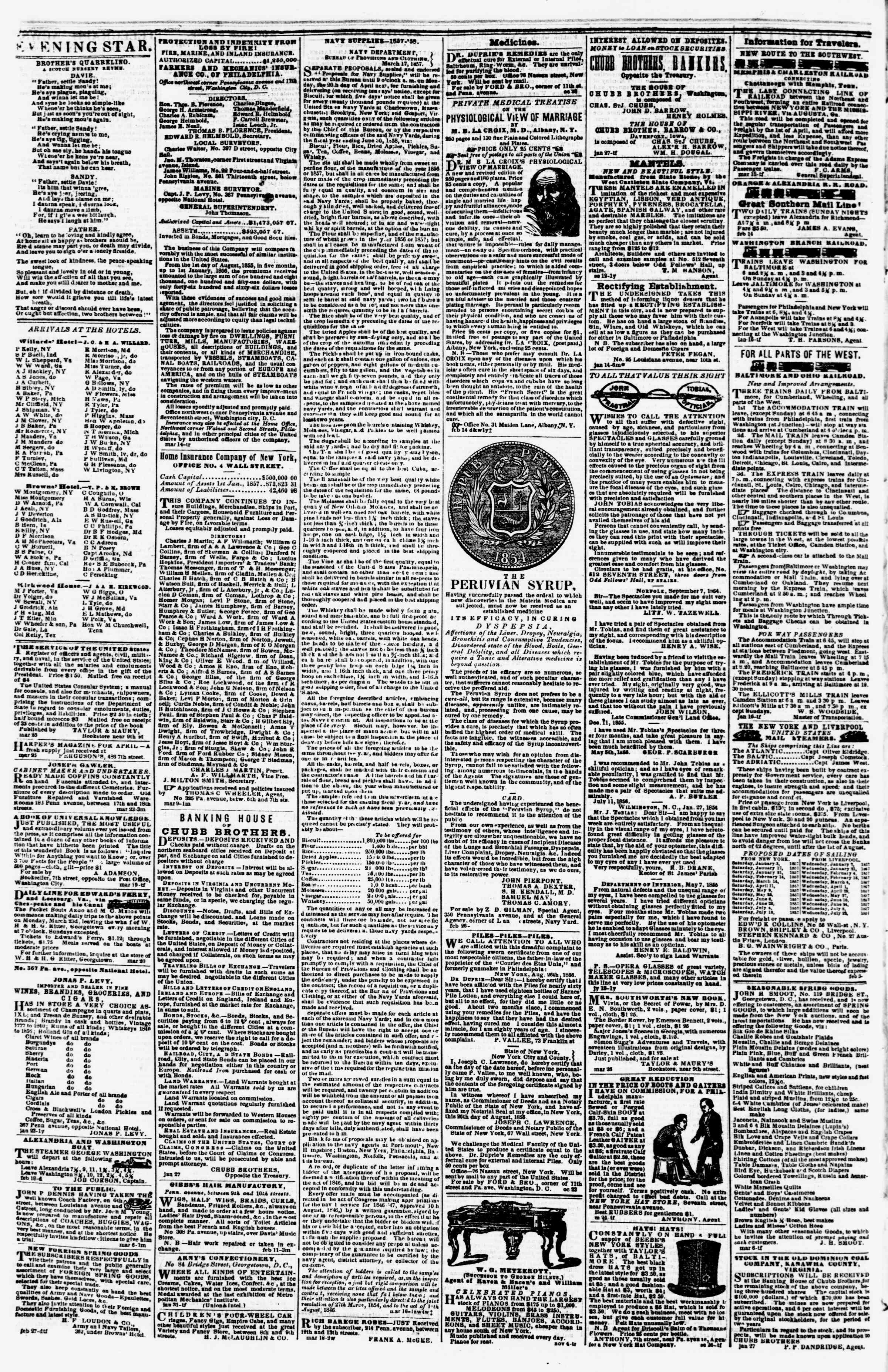 Newspaper of Evening Star dated April 2, 1857 Page 4