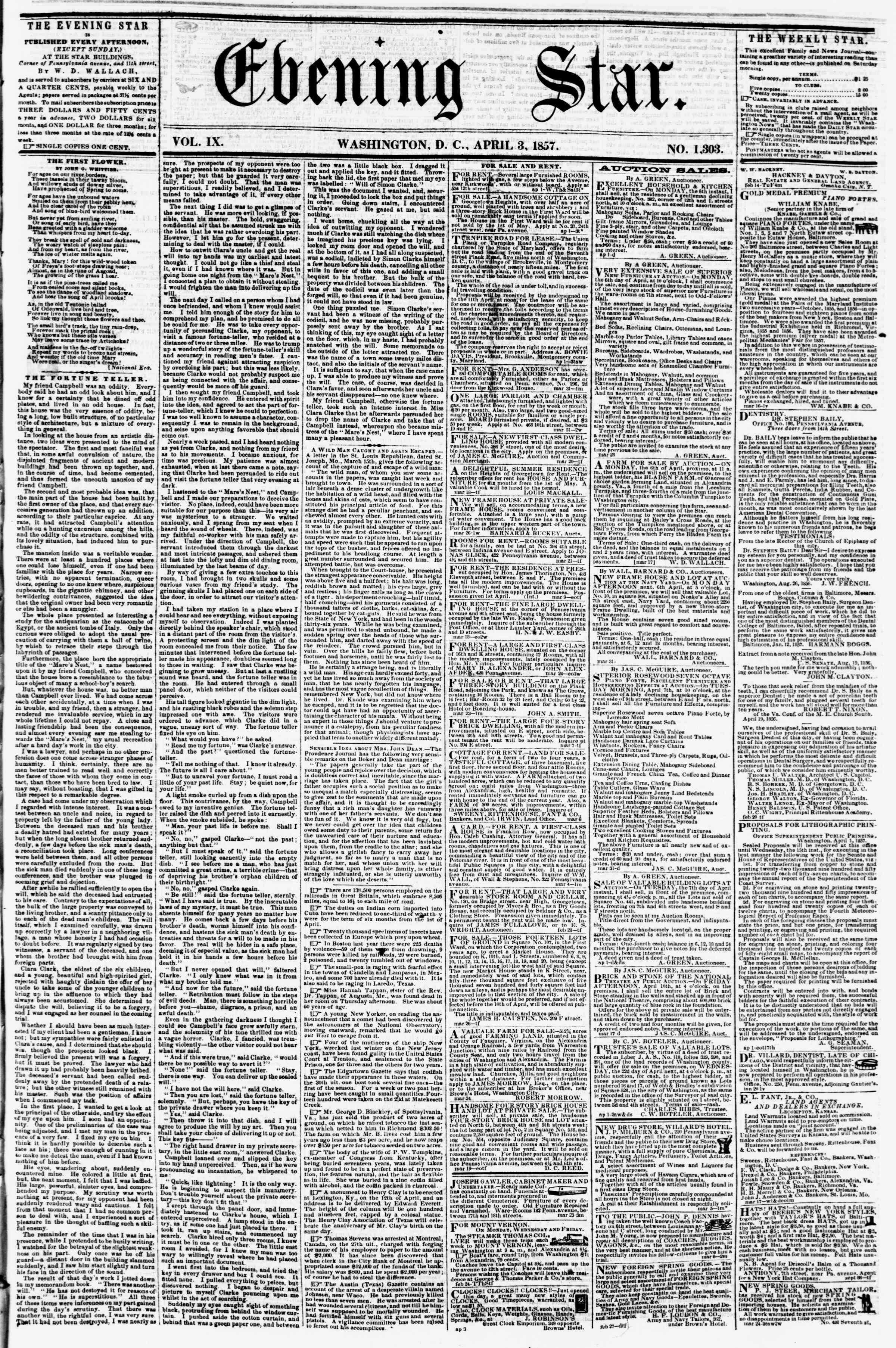 Newspaper of Evening Star dated April 3, 1857 Page 1