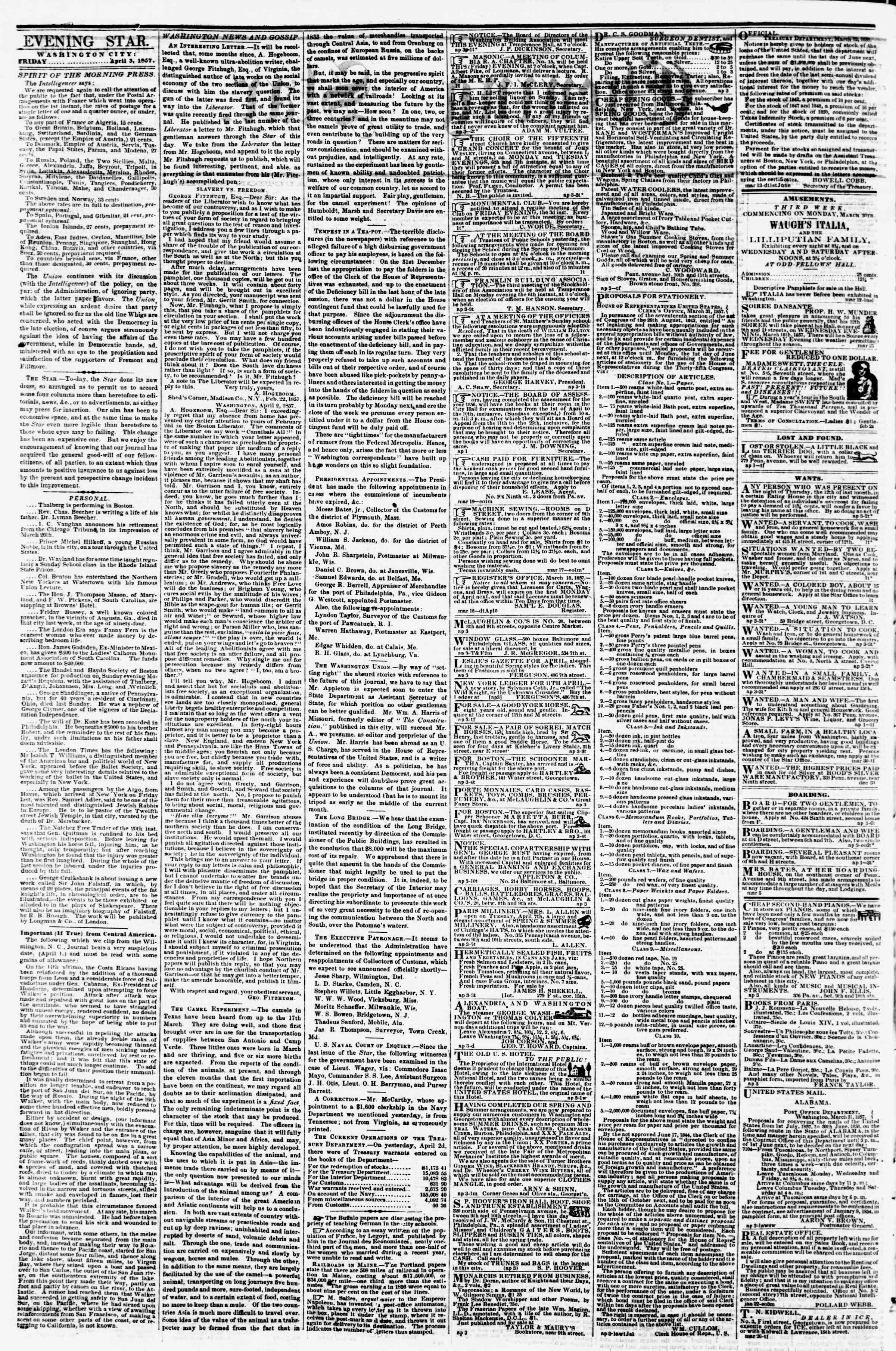 3 Nisan 1857 tarihli Evening Star Gazetesi Sayfa 2