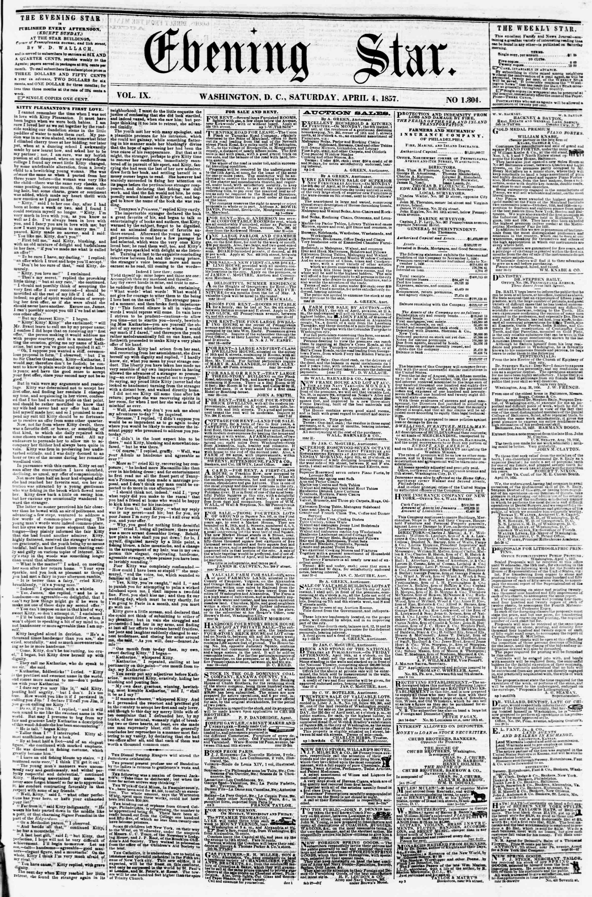 Newspaper of Evening Star dated April 4, 1857 Page 1