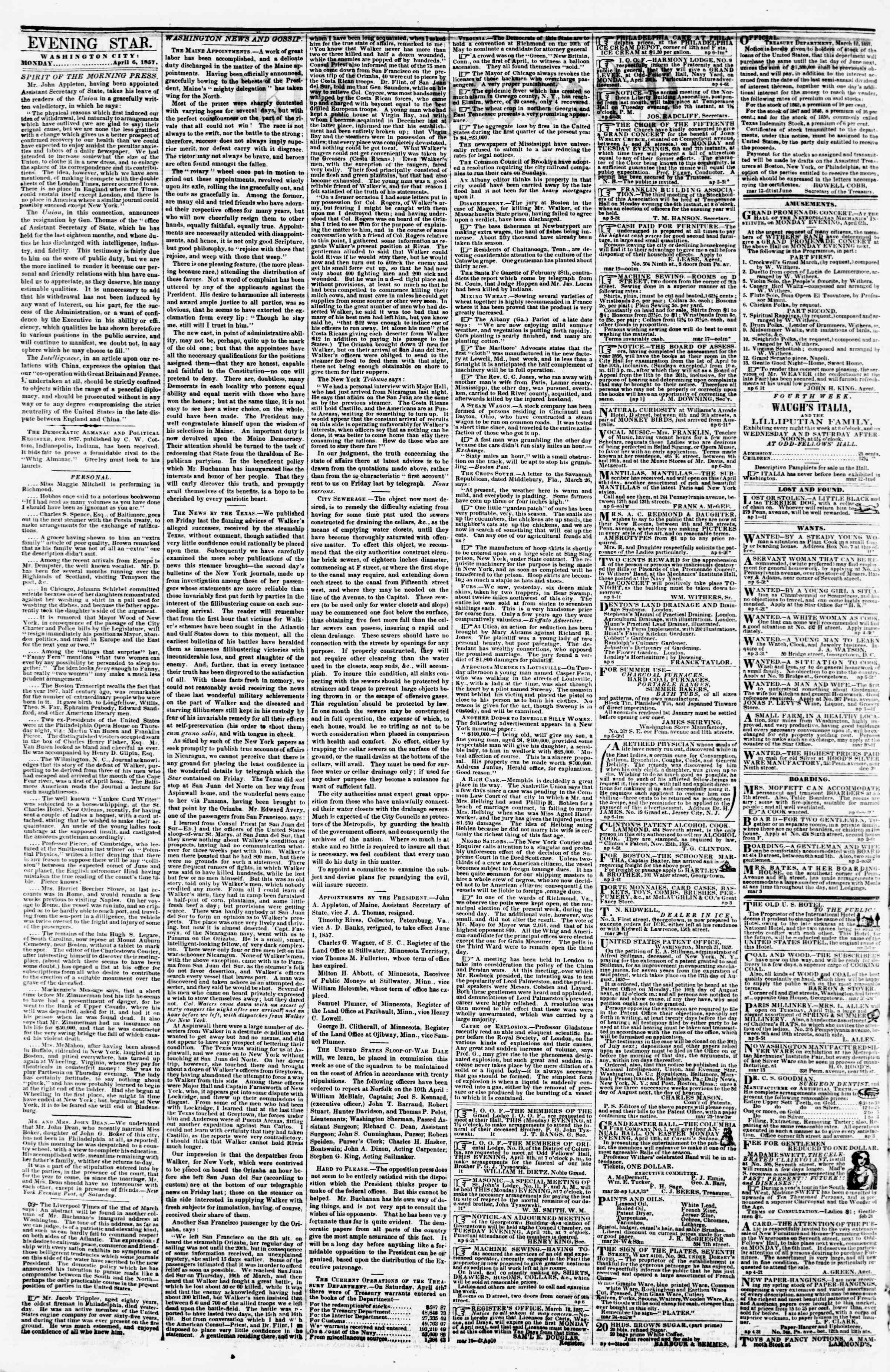 Newspaper of Evening Star dated April 6, 1857 Page 2