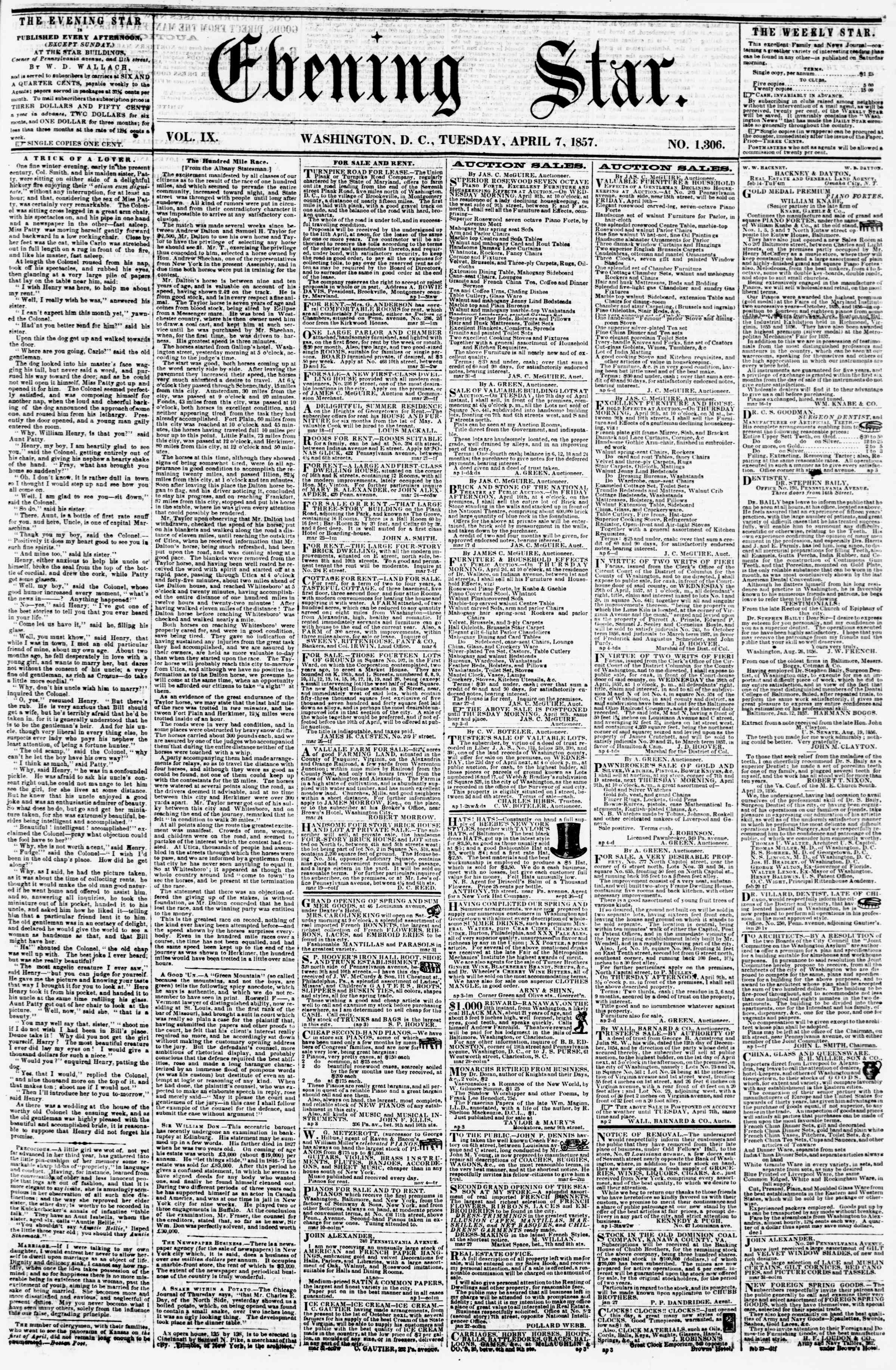 Newspaper of Evening Star dated April 7, 1857 Page 1