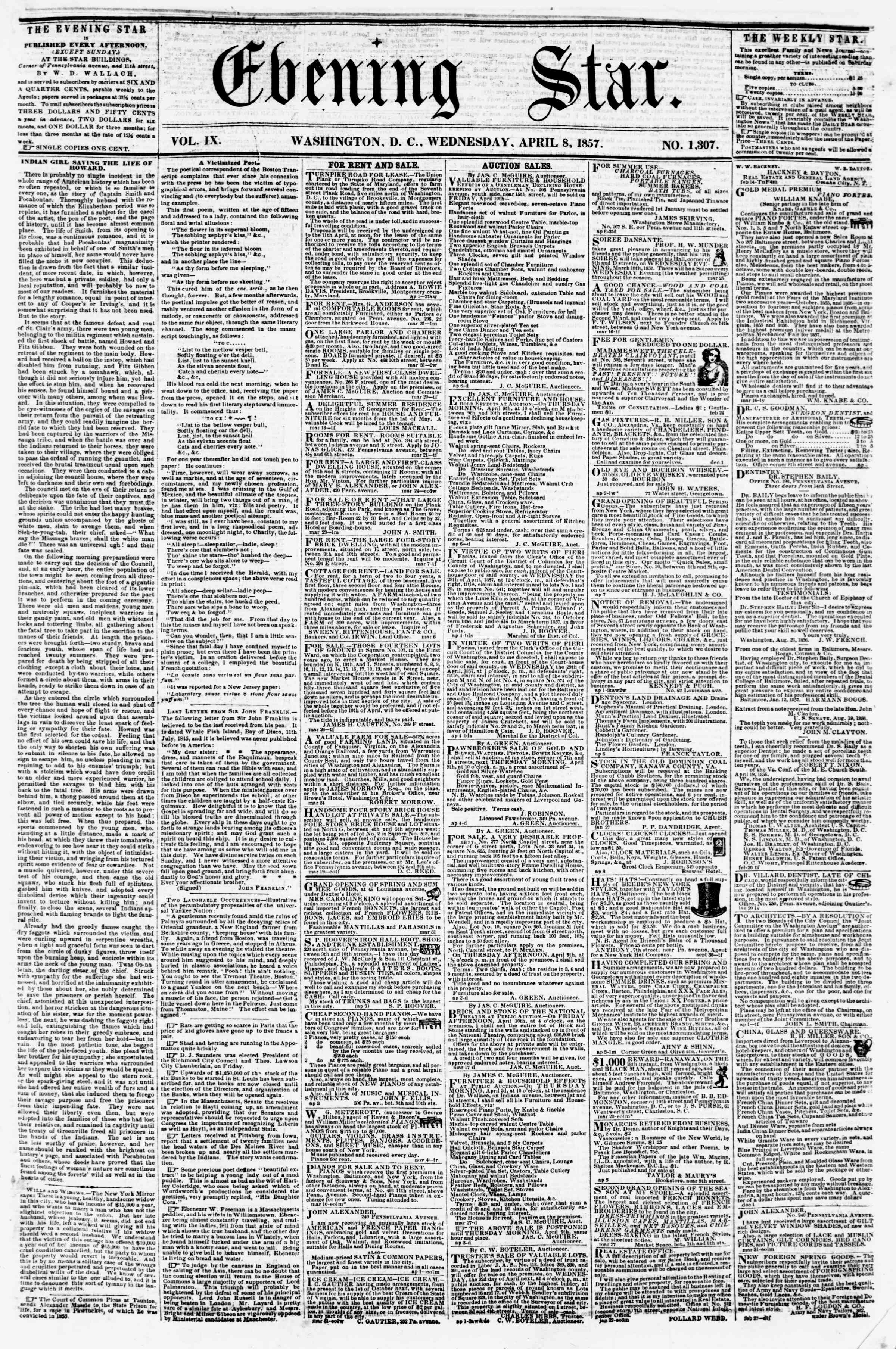 Newspaper of Evening Star dated April 8, 1857 Page 1
