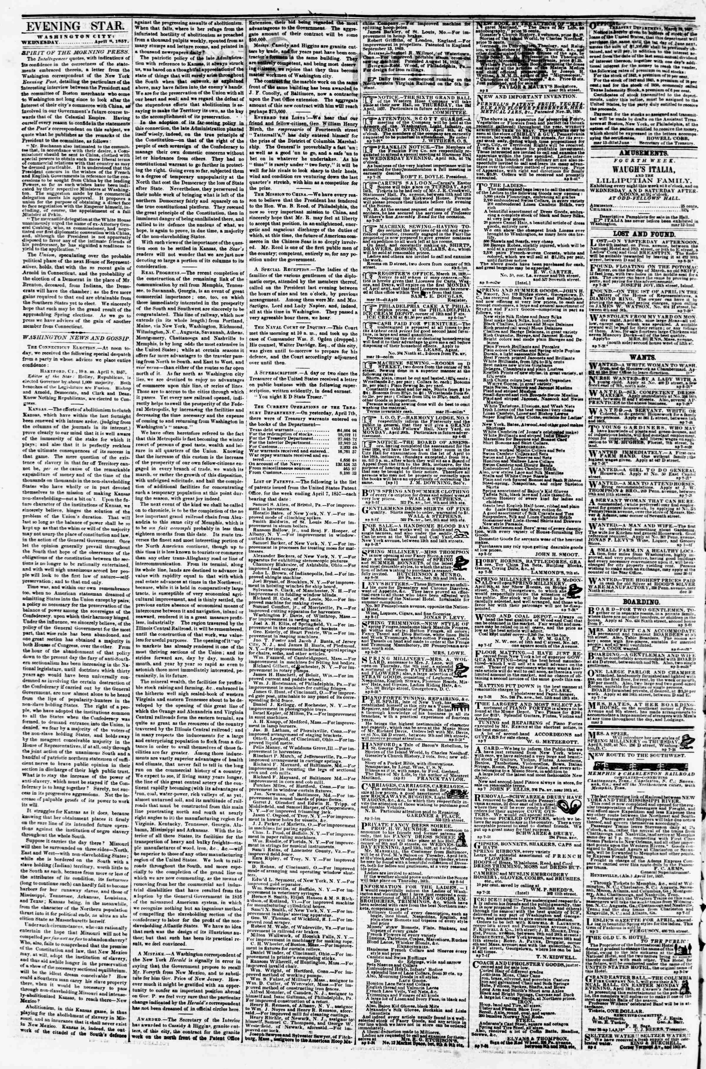 Newspaper of Evening Star dated April 8, 1857 Page 2