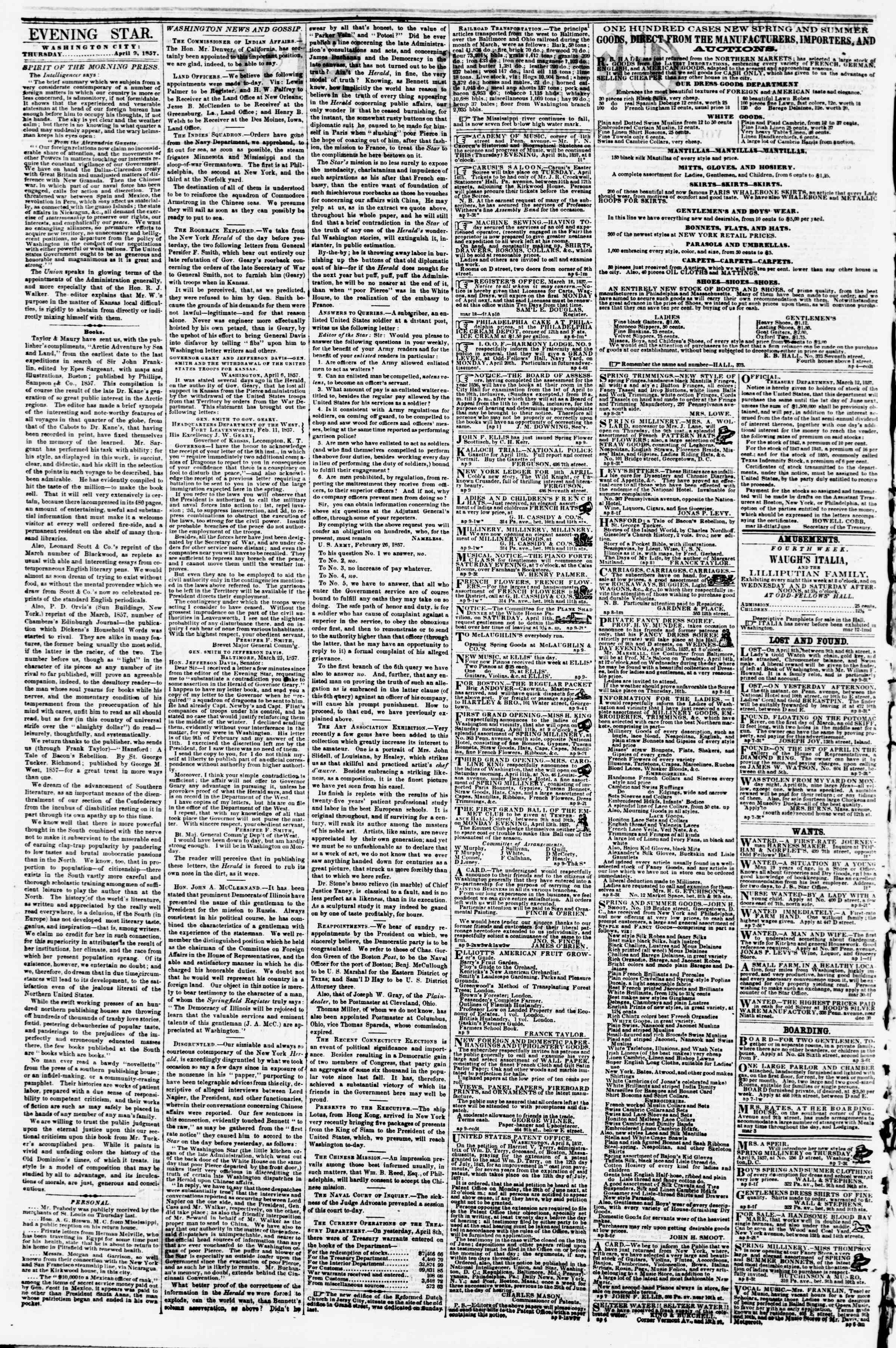 Newspaper of Evening Star dated April 9, 1857 Page 2