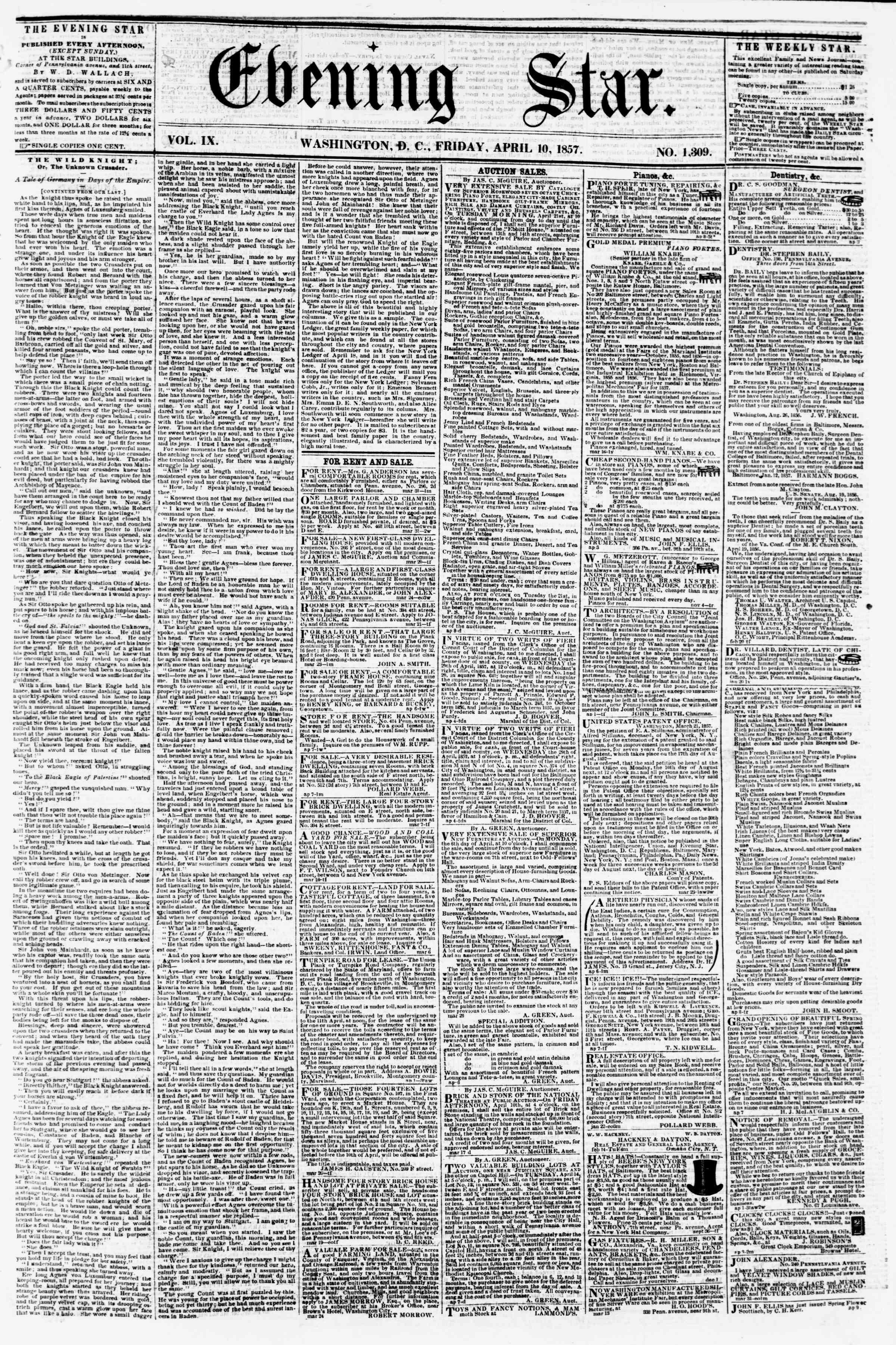 Newspaper of Evening Star dated April 10, 1857 Page 1