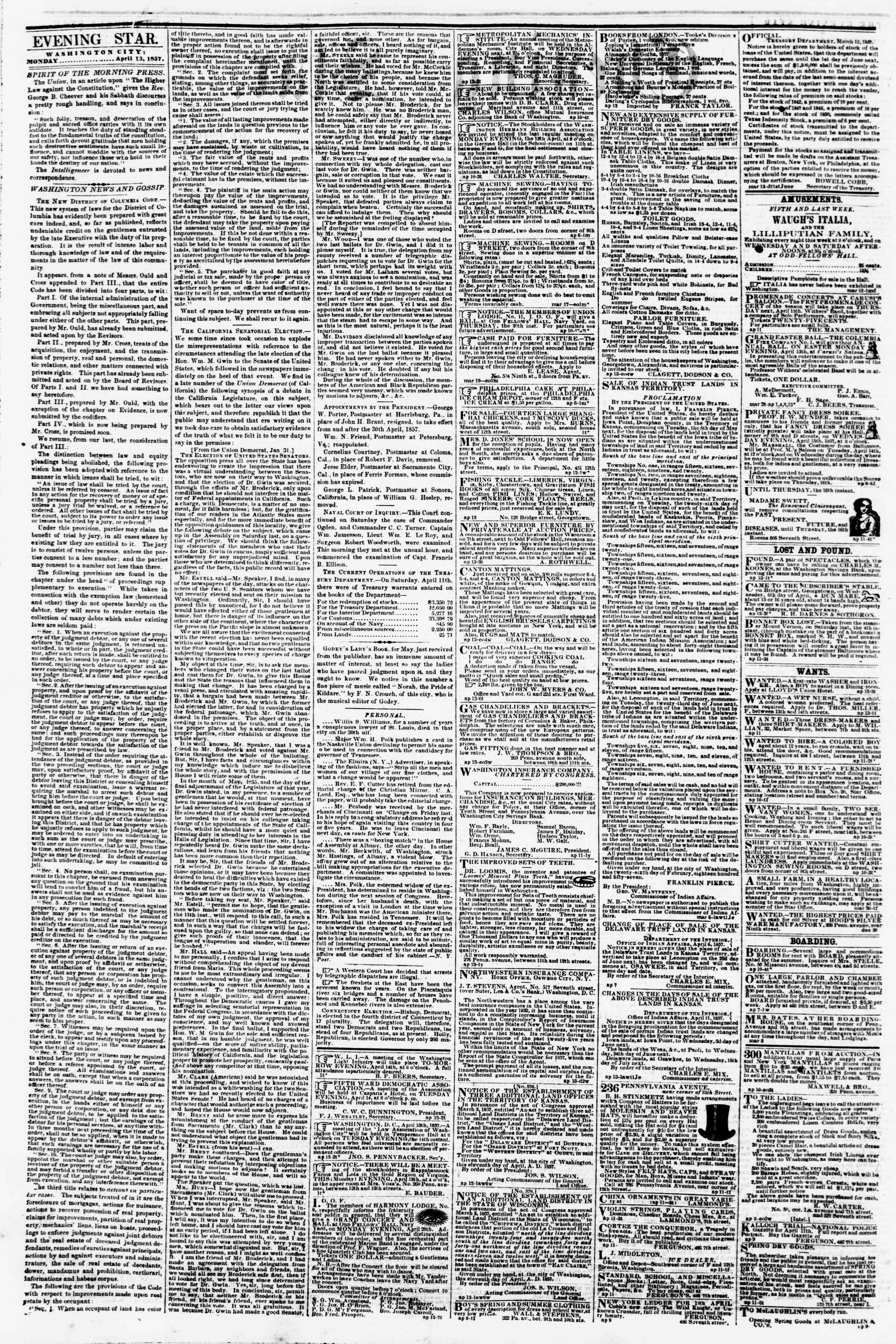 Newspaper of Evening Star dated April 13, 1857 Page 2