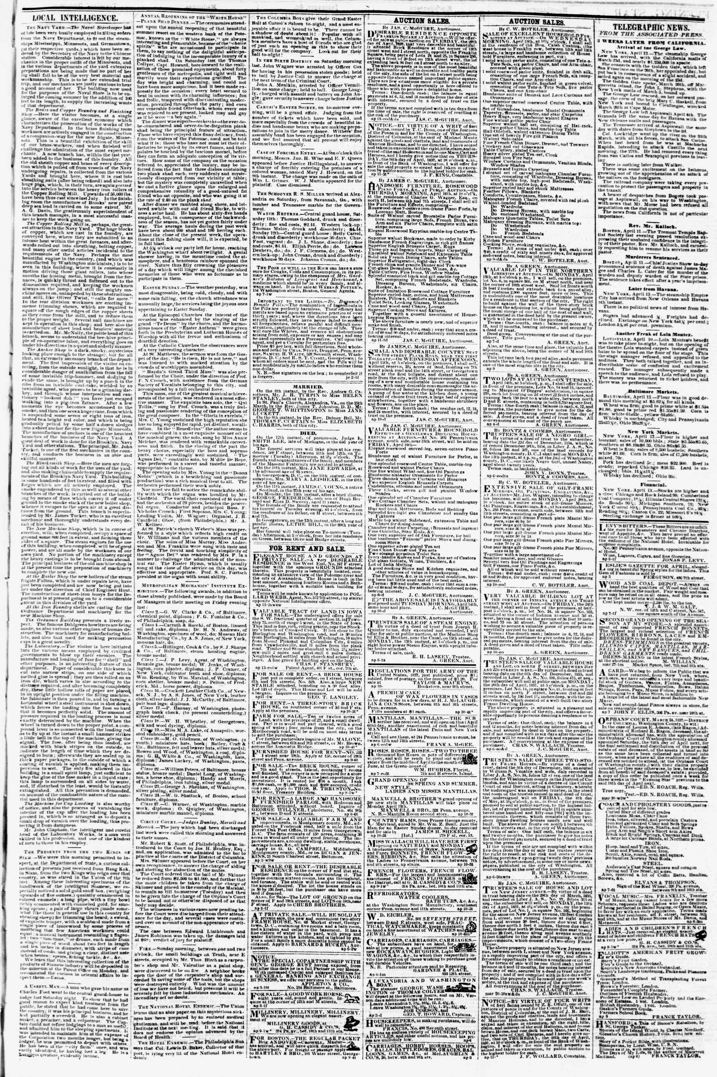 Newspaper of Evening Star dated April 13, 1857 Page 3