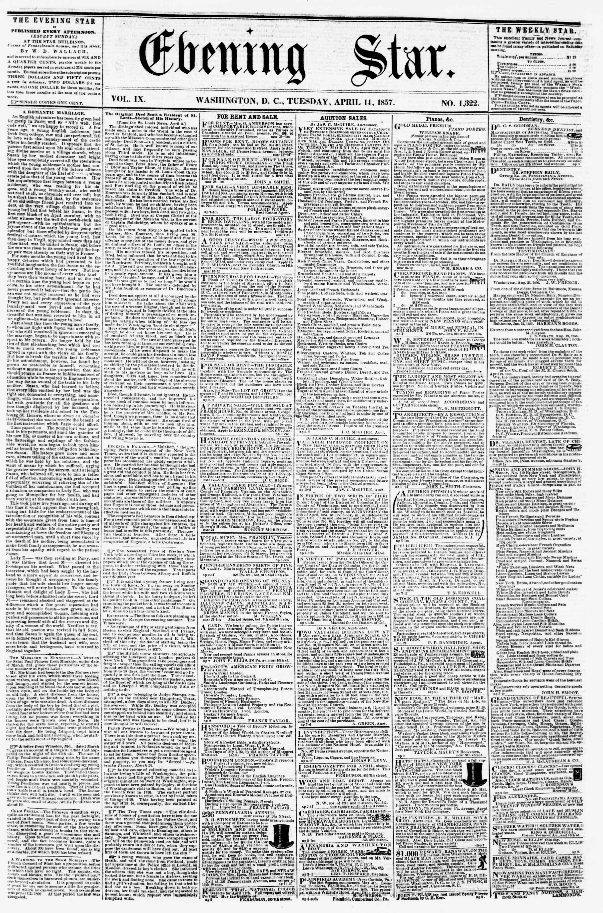 Newspaper of Evening Star dated April 14, 1857 Page 1