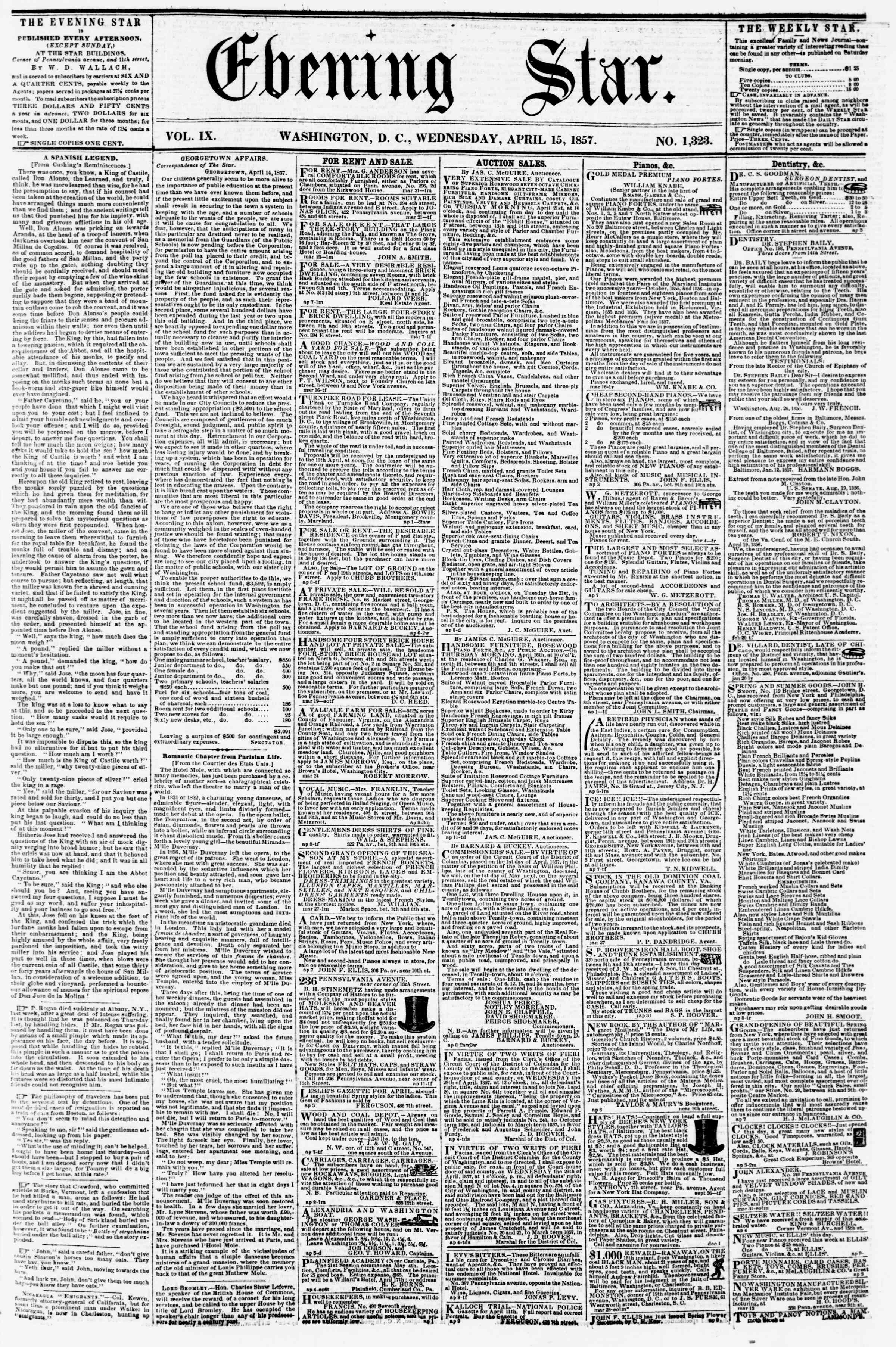 Newspaper of Evening Star dated April 15, 1857 Page 1