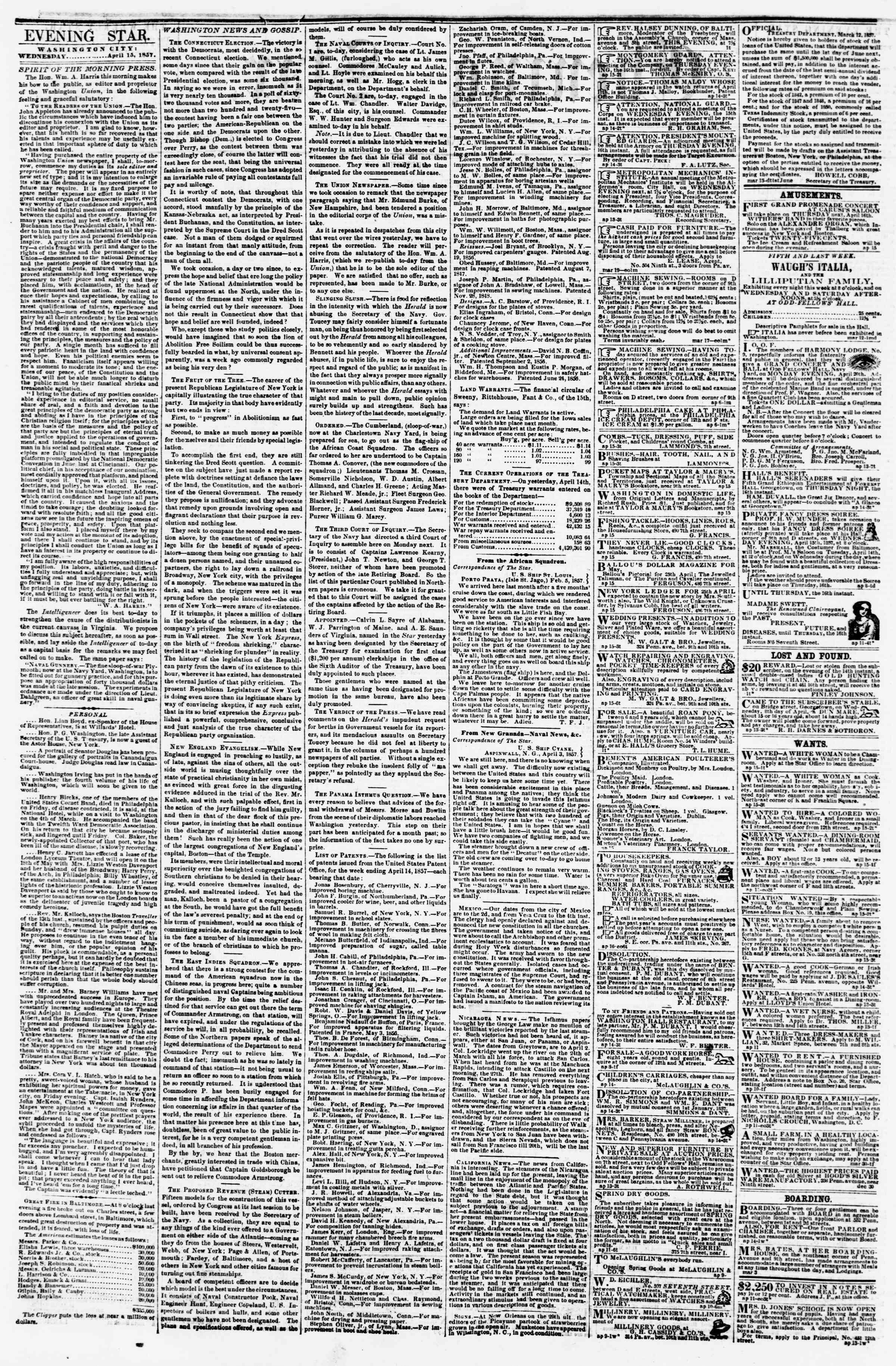 Newspaper of Evening Star dated April 15, 1857 Page 2