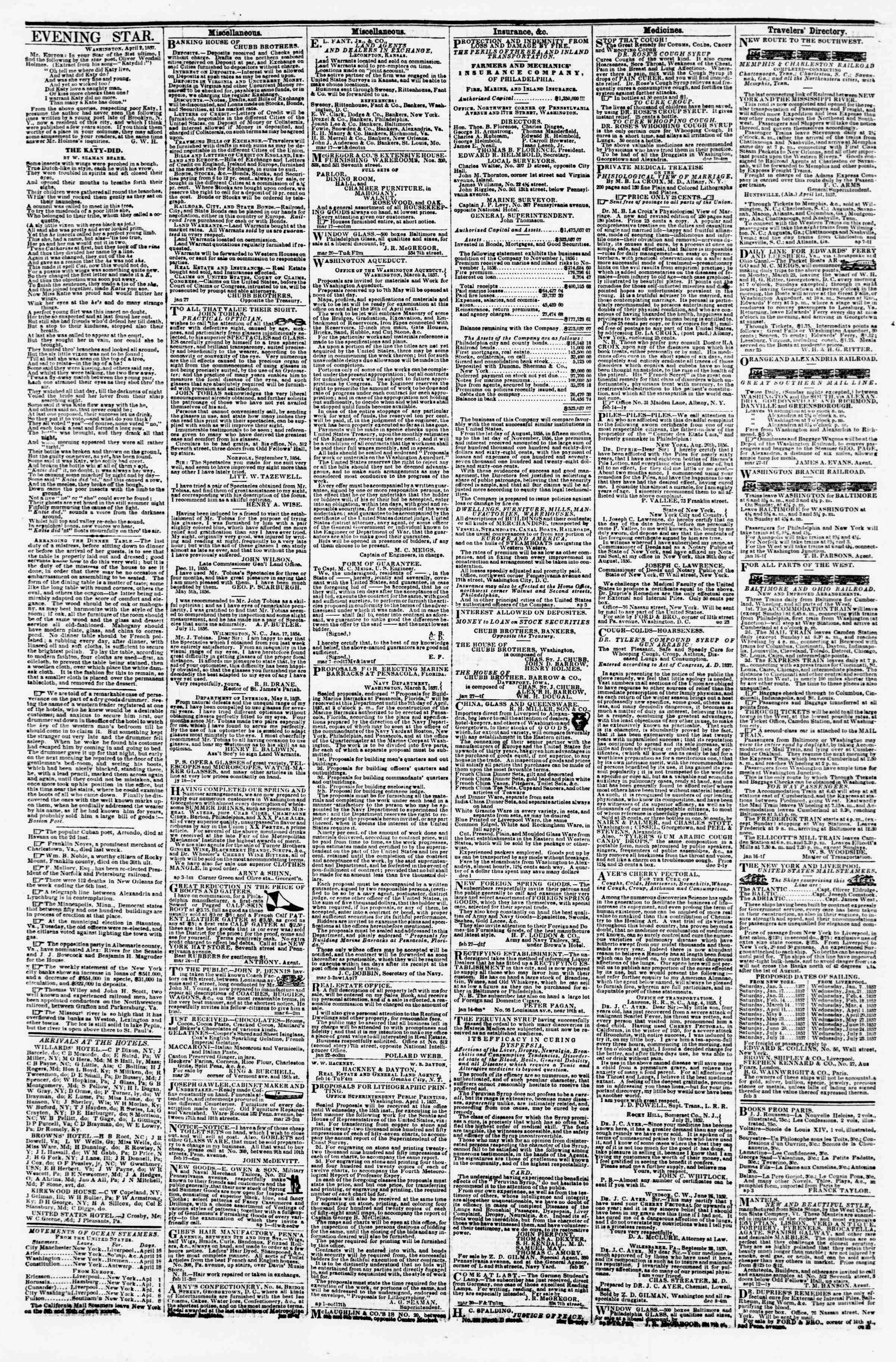 Newspaper of Evening Star dated April 15, 1857 Page 4