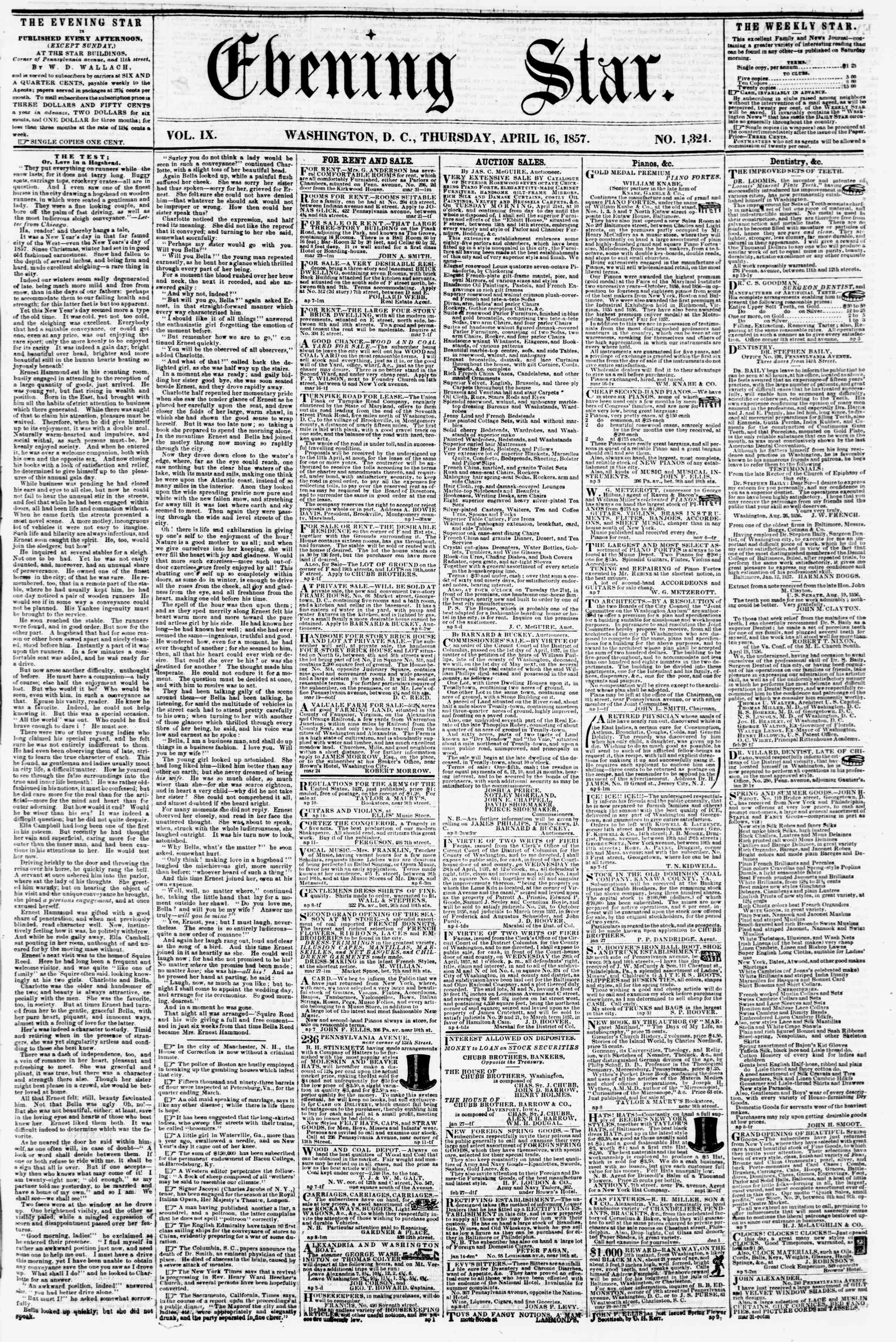 Newspaper of Evening Star dated April 16, 1857 Page 1