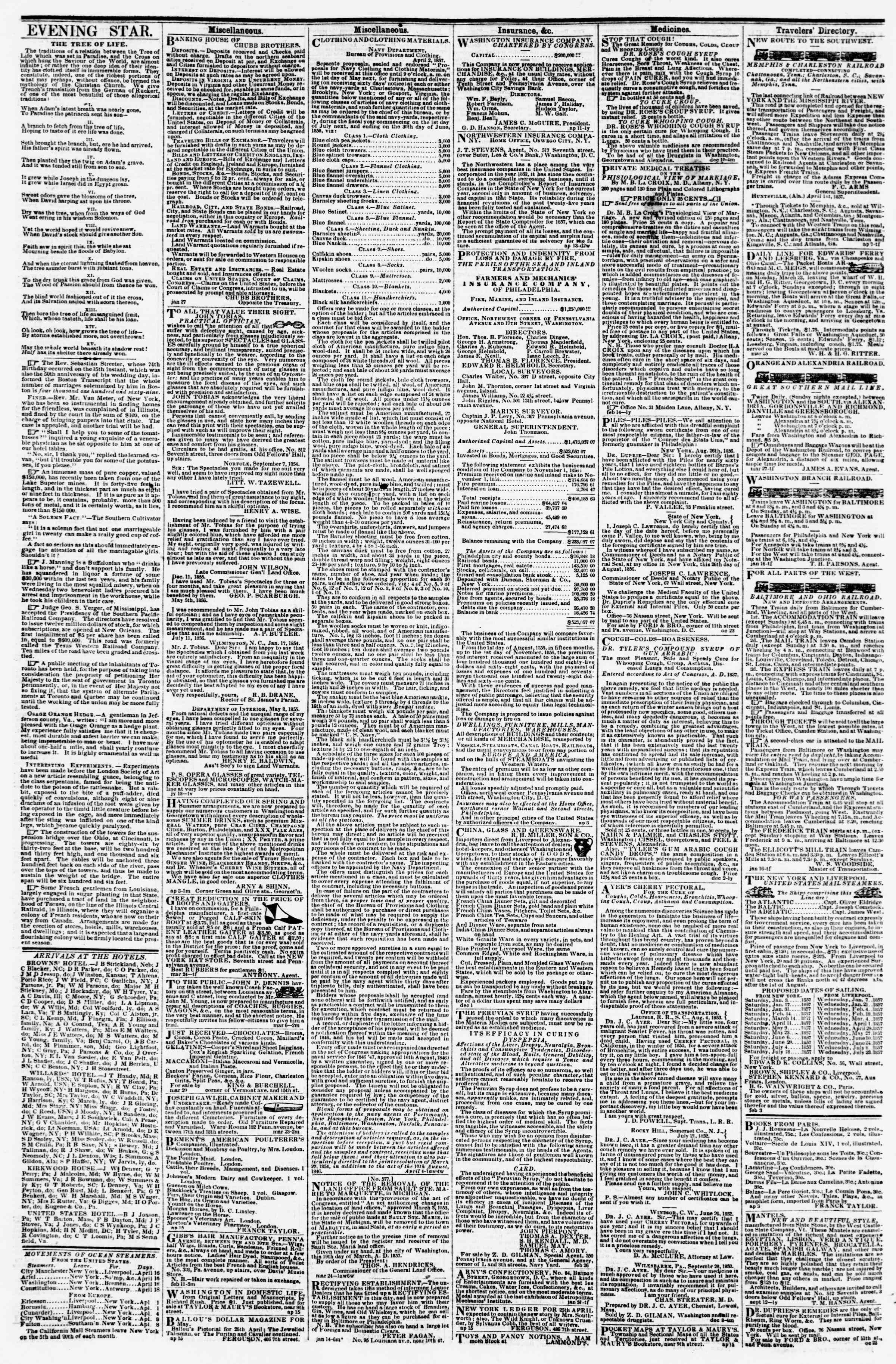 Newspaper of Evening Star dated April 18, 1857 Page 4