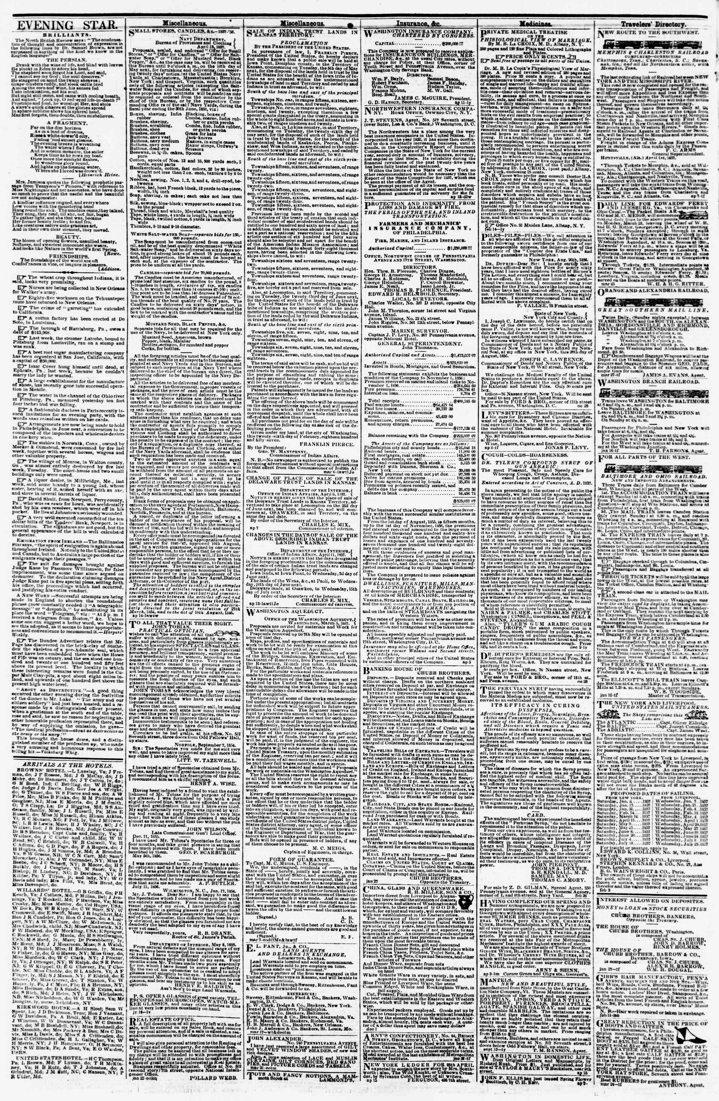 Newspaper of Evening Star dated April 21, 1857 Page 4