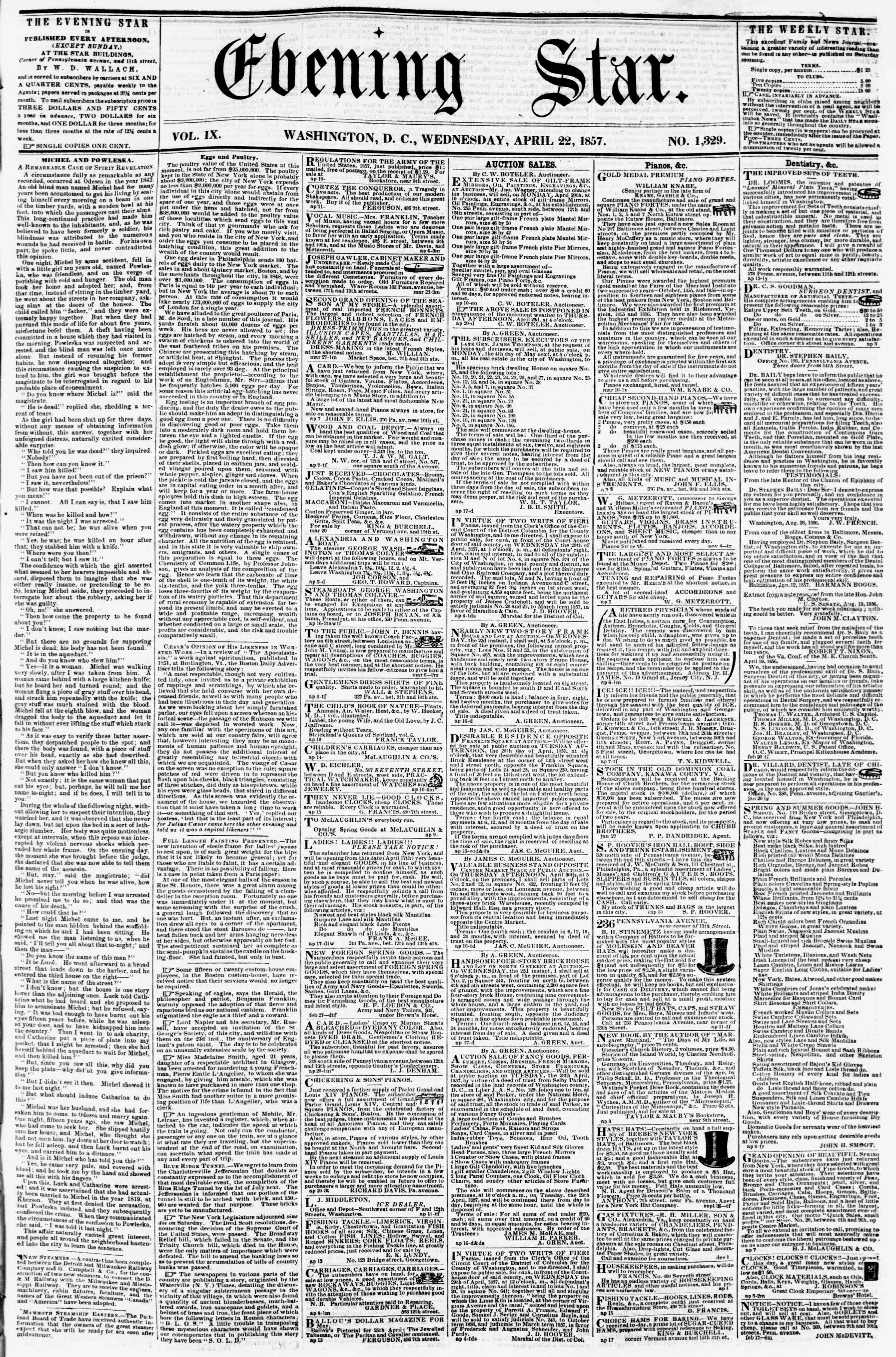 Newspaper of Evening Star dated April 22, 1857 Page 1