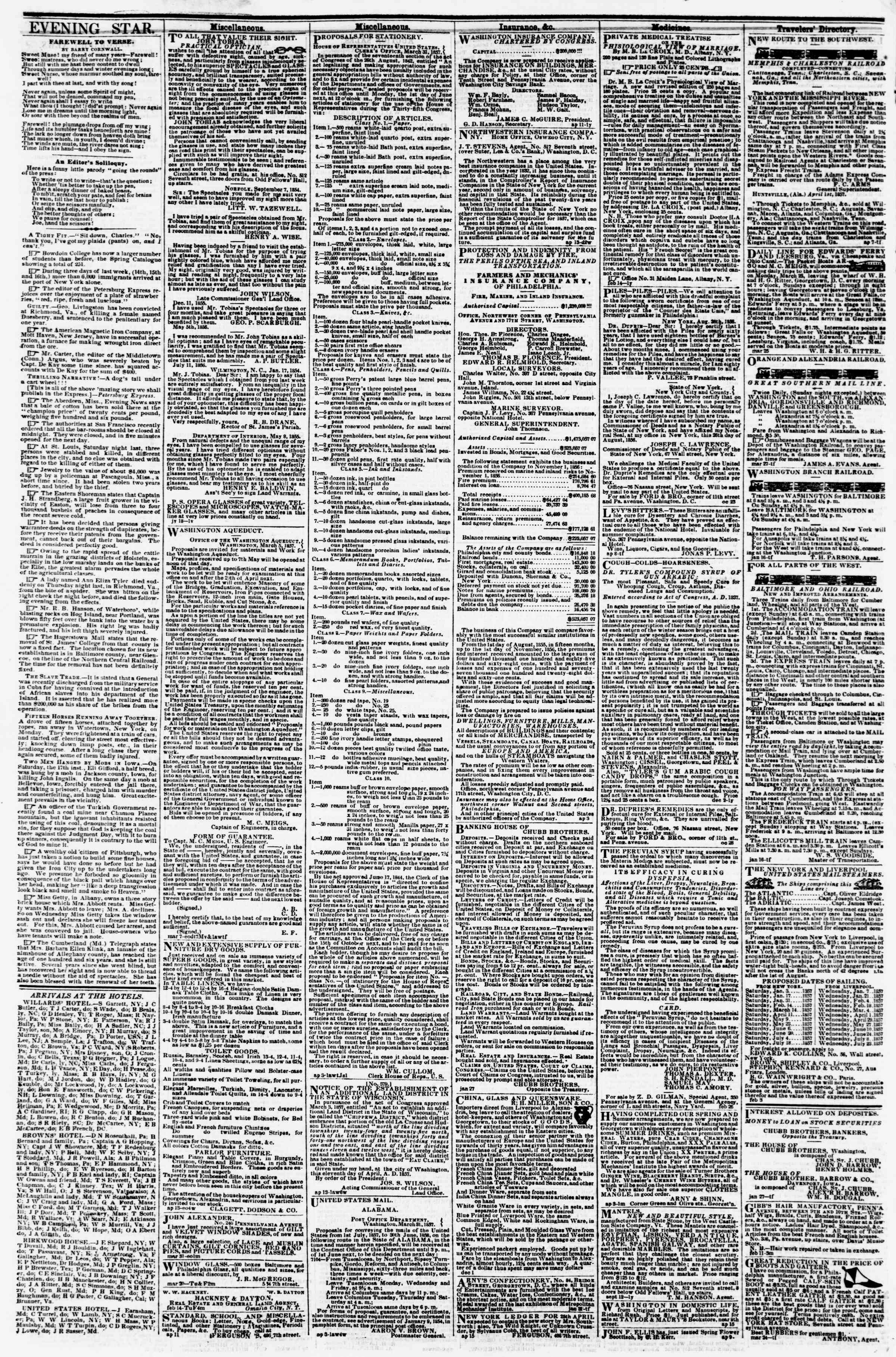 Newspaper of Evening Star dated April 22, 1857 Page 4