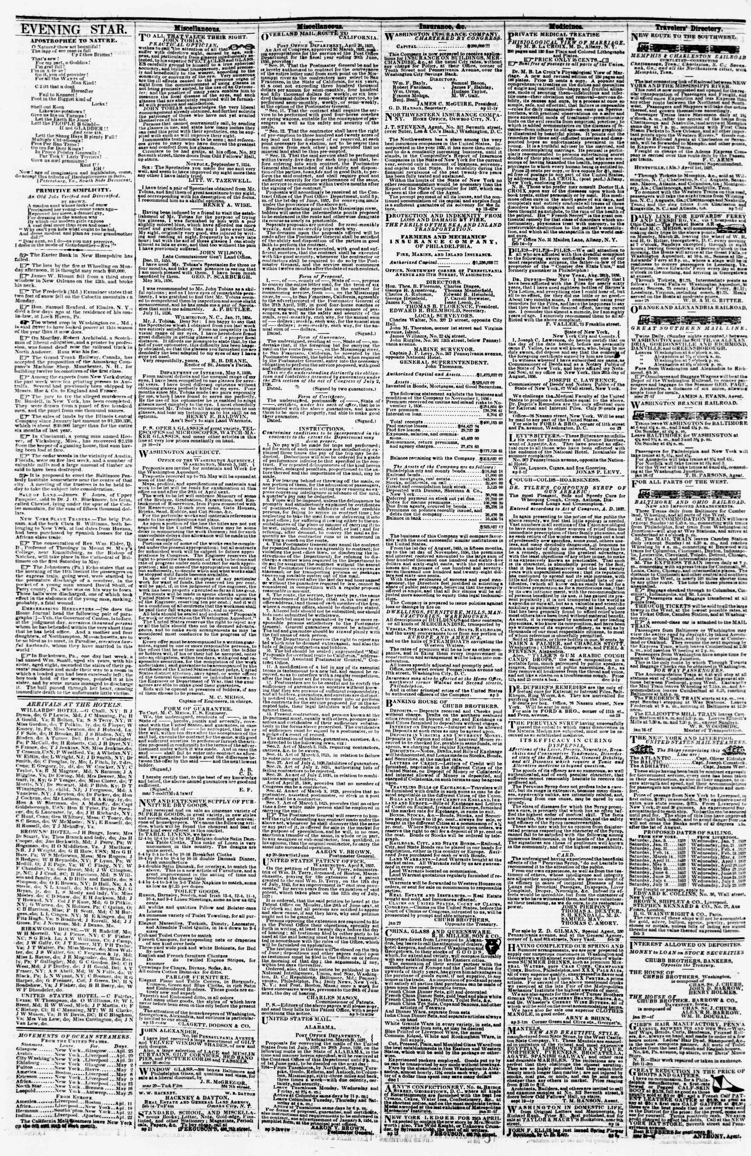 Newspaper of Evening Star dated April 24, 1857 Page 4