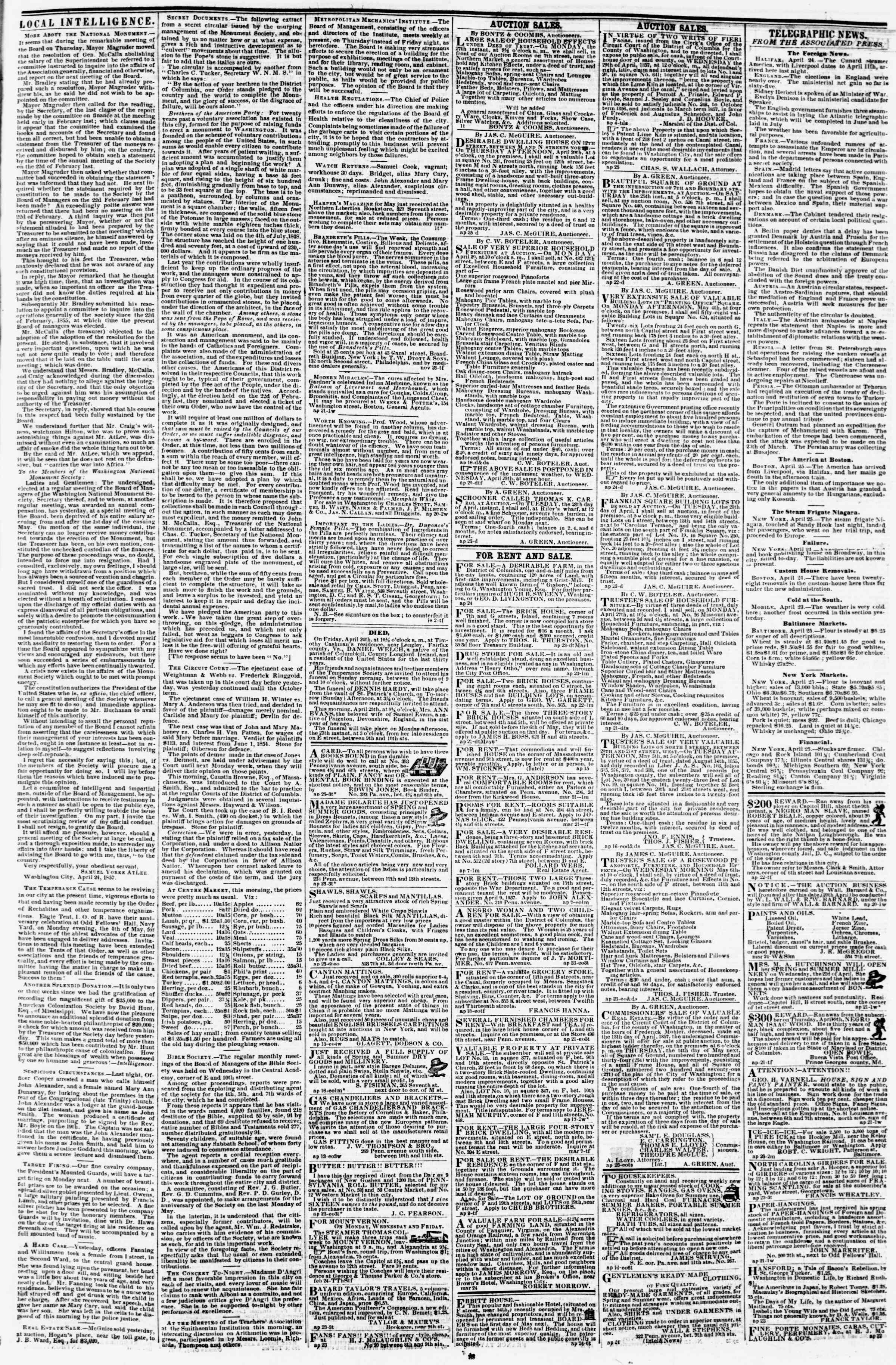 Newspaper of Evening Star dated April 25, 1857 Page 3