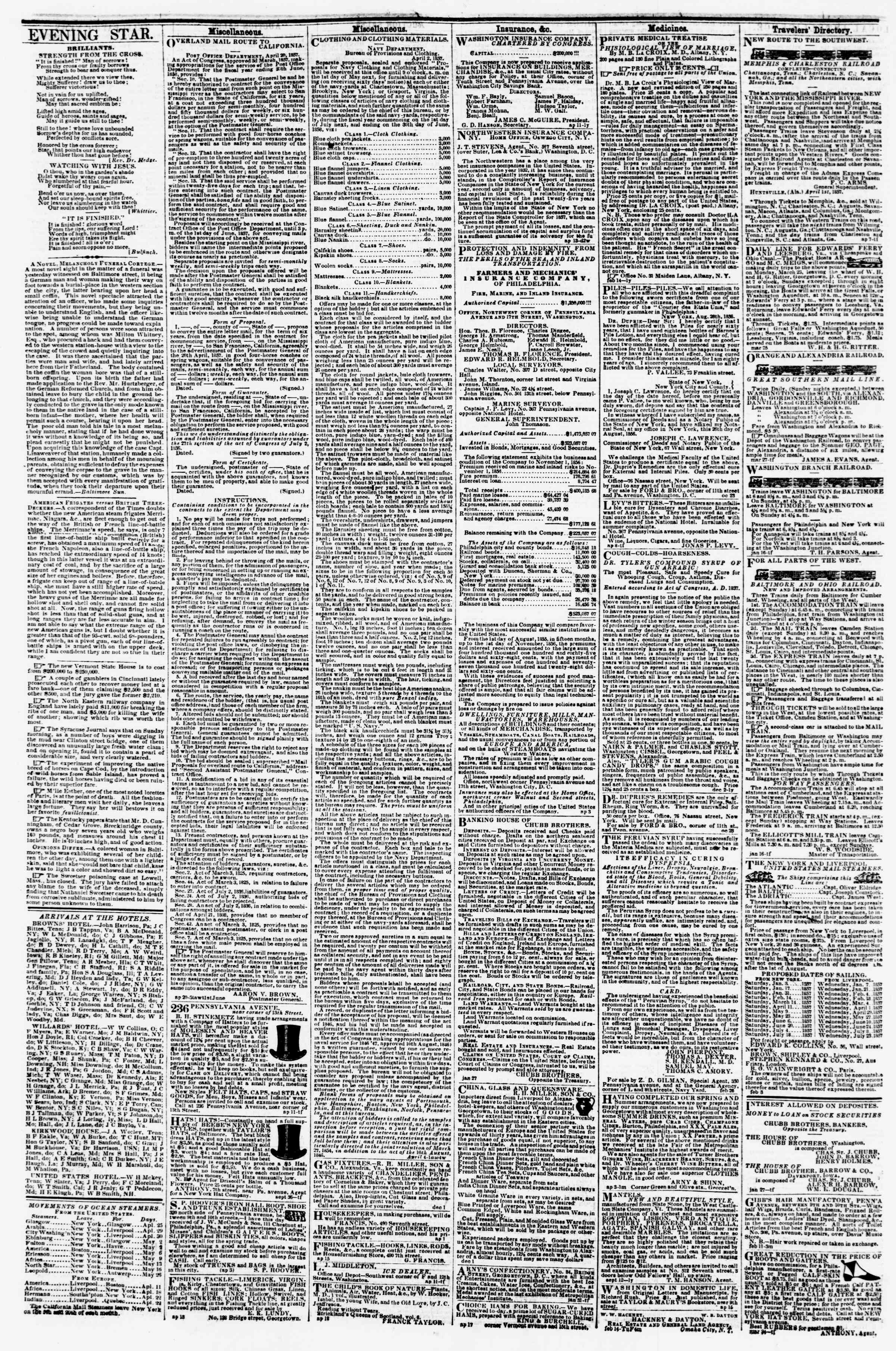 Newspaper of Evening Star dated April 25, 1857 Page 4