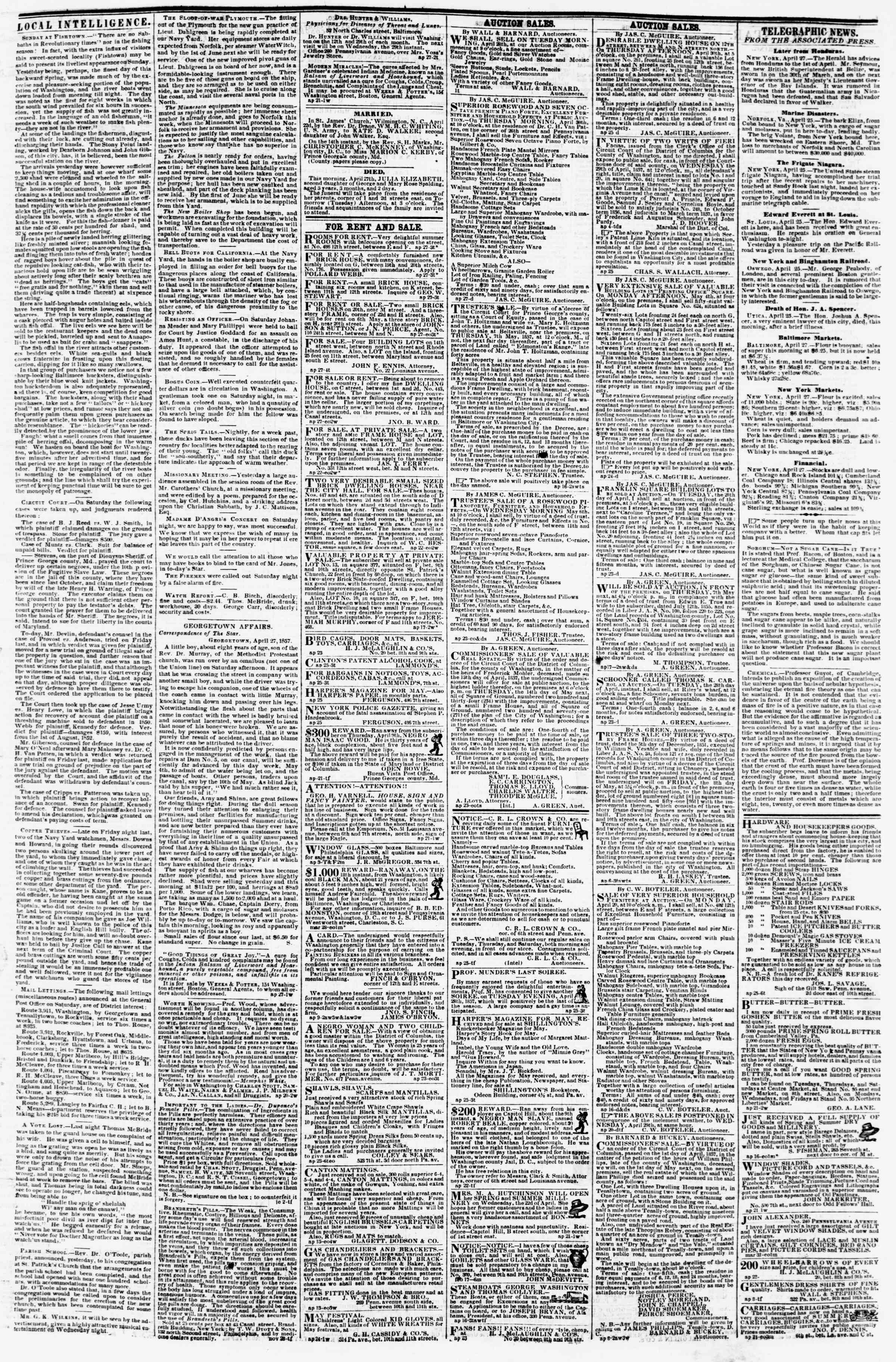 Newspaper of Evening Star dated April 27, 1857 Page 3