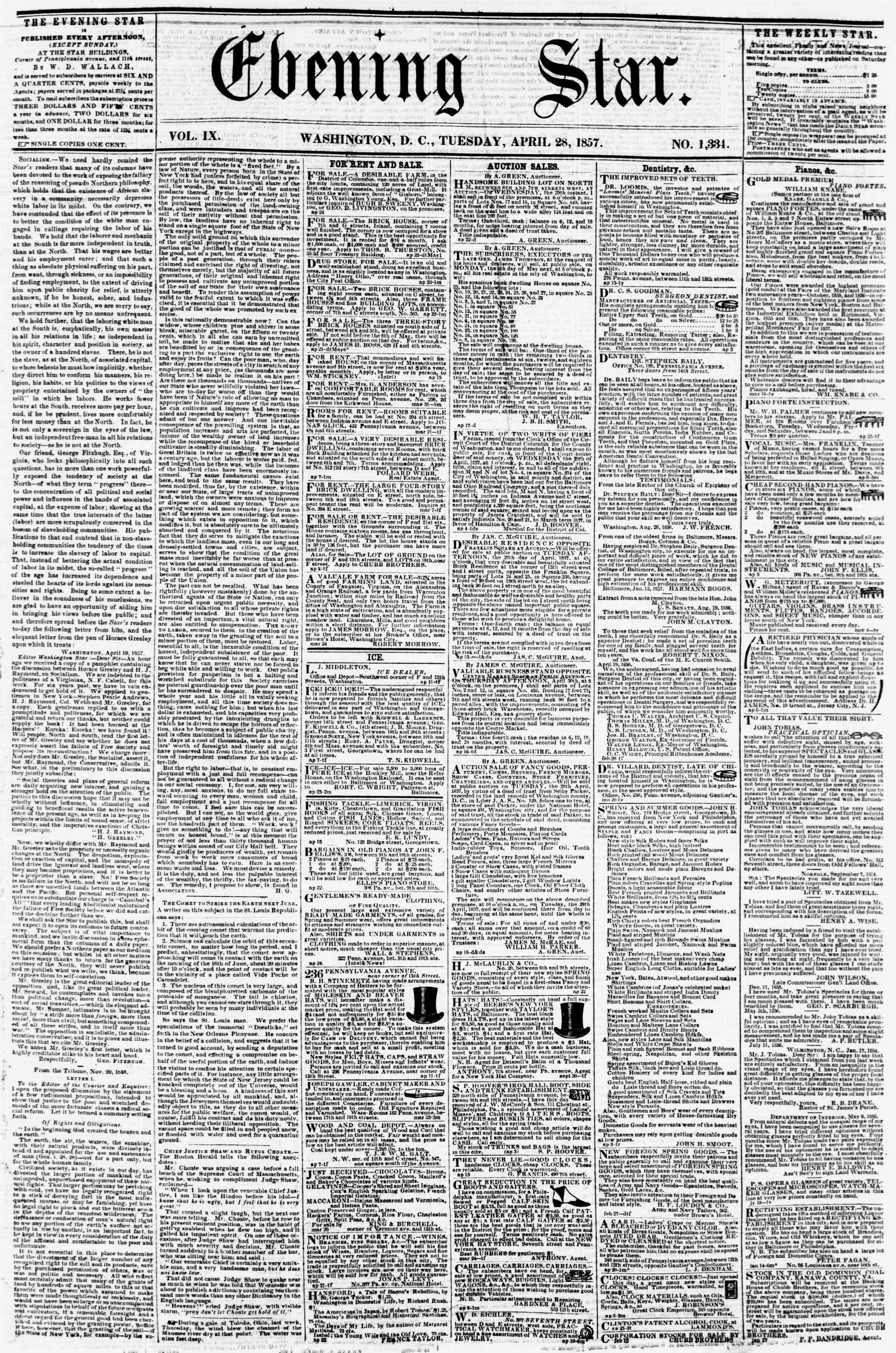 Newspaper of Evening Star dated April 28, 1857 Page 1