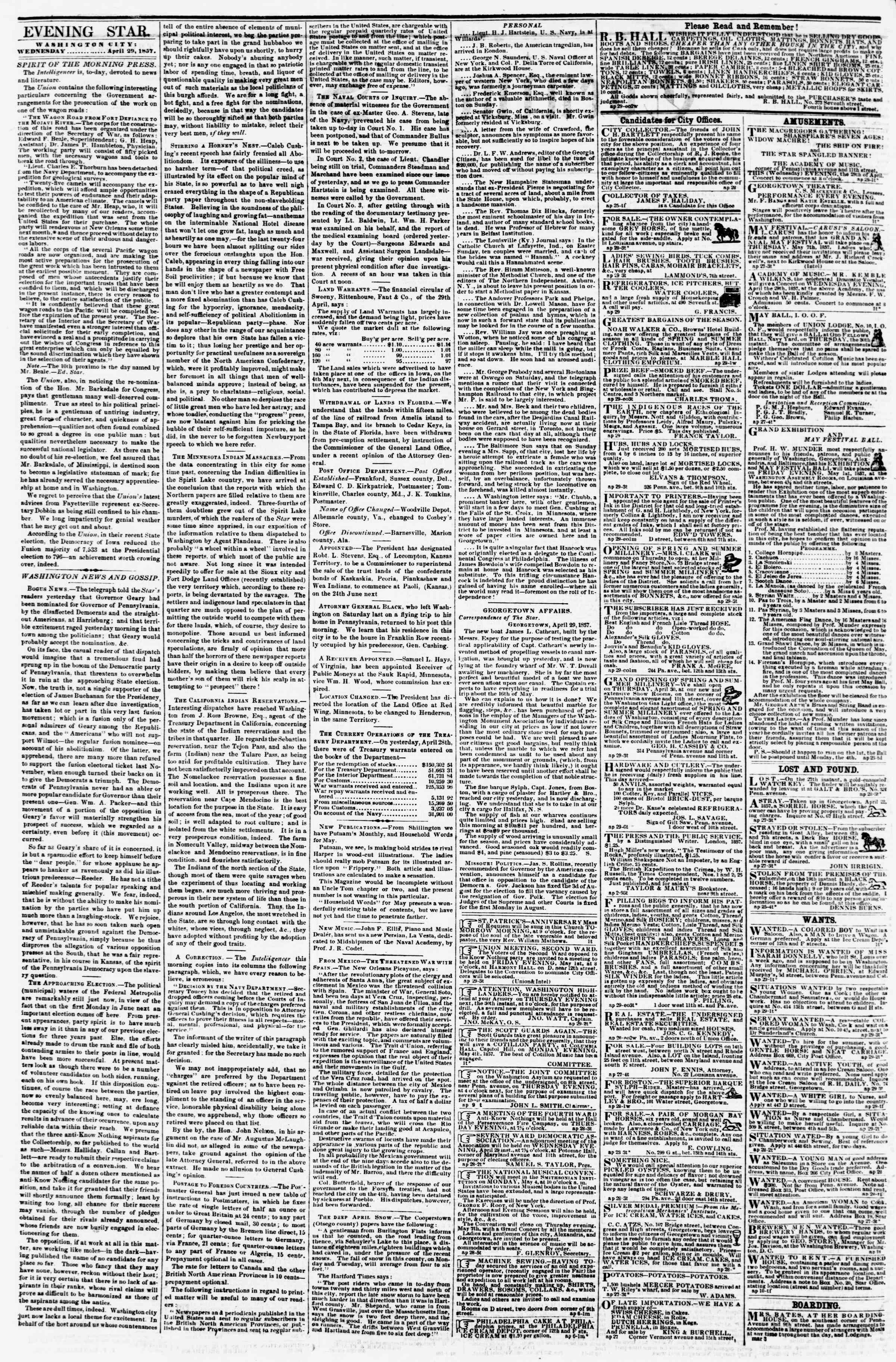 Newspaper of Evening Star dated April 29, 1857 Page 2