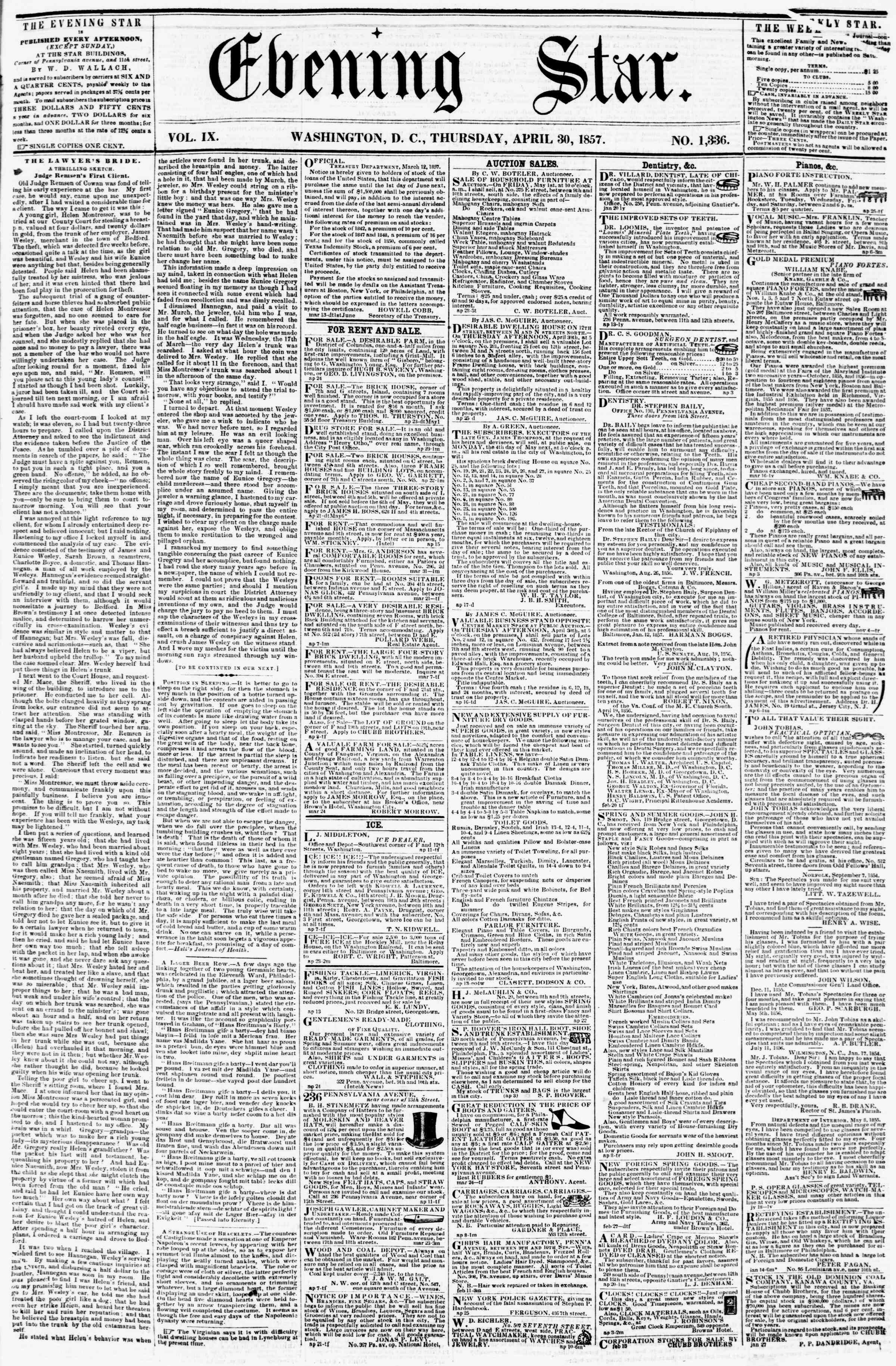 Newspaper of Evening Star dated April 30, 1857 Page 1