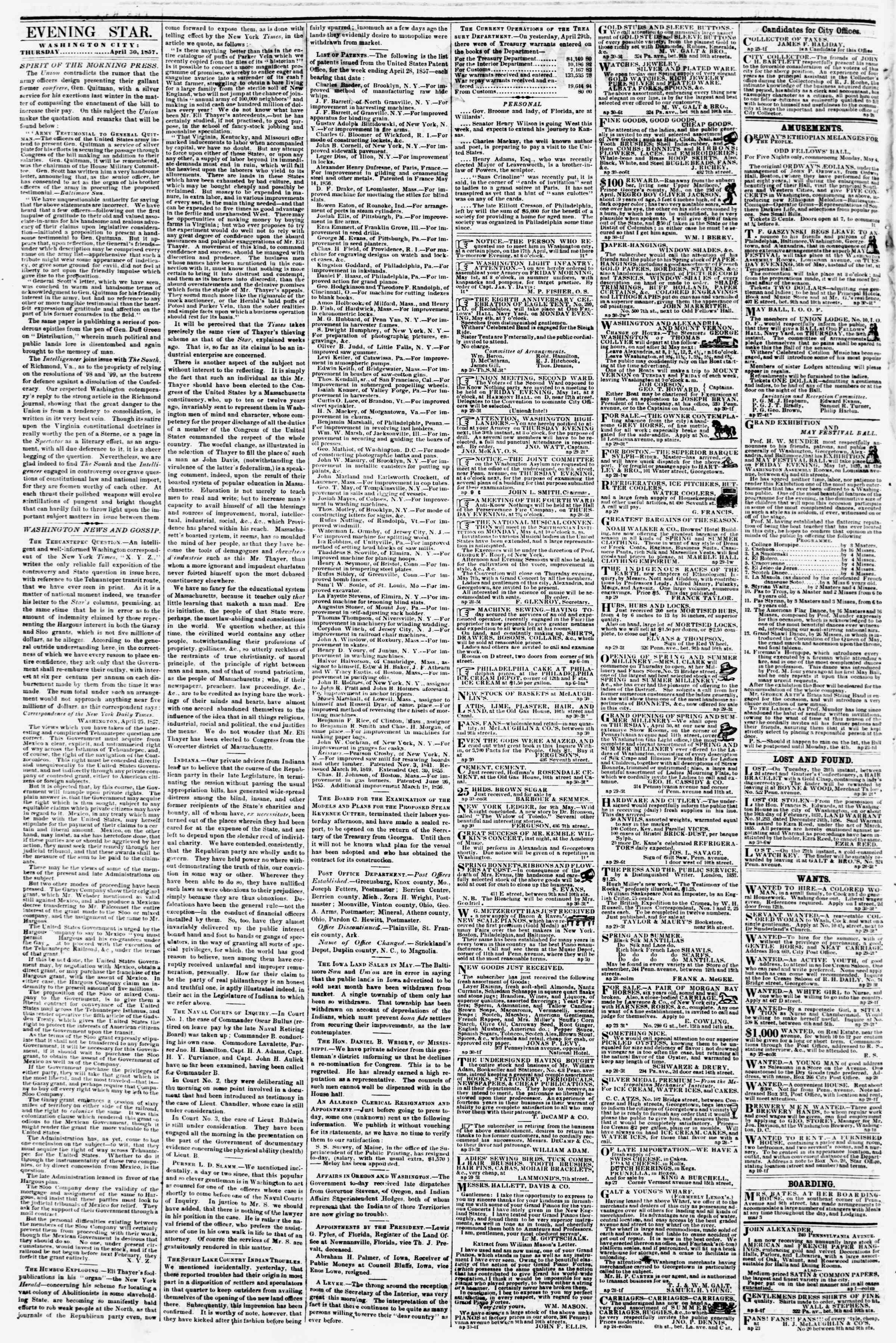 Newspaper of Evening Star dated April 30, 1857 Page 2