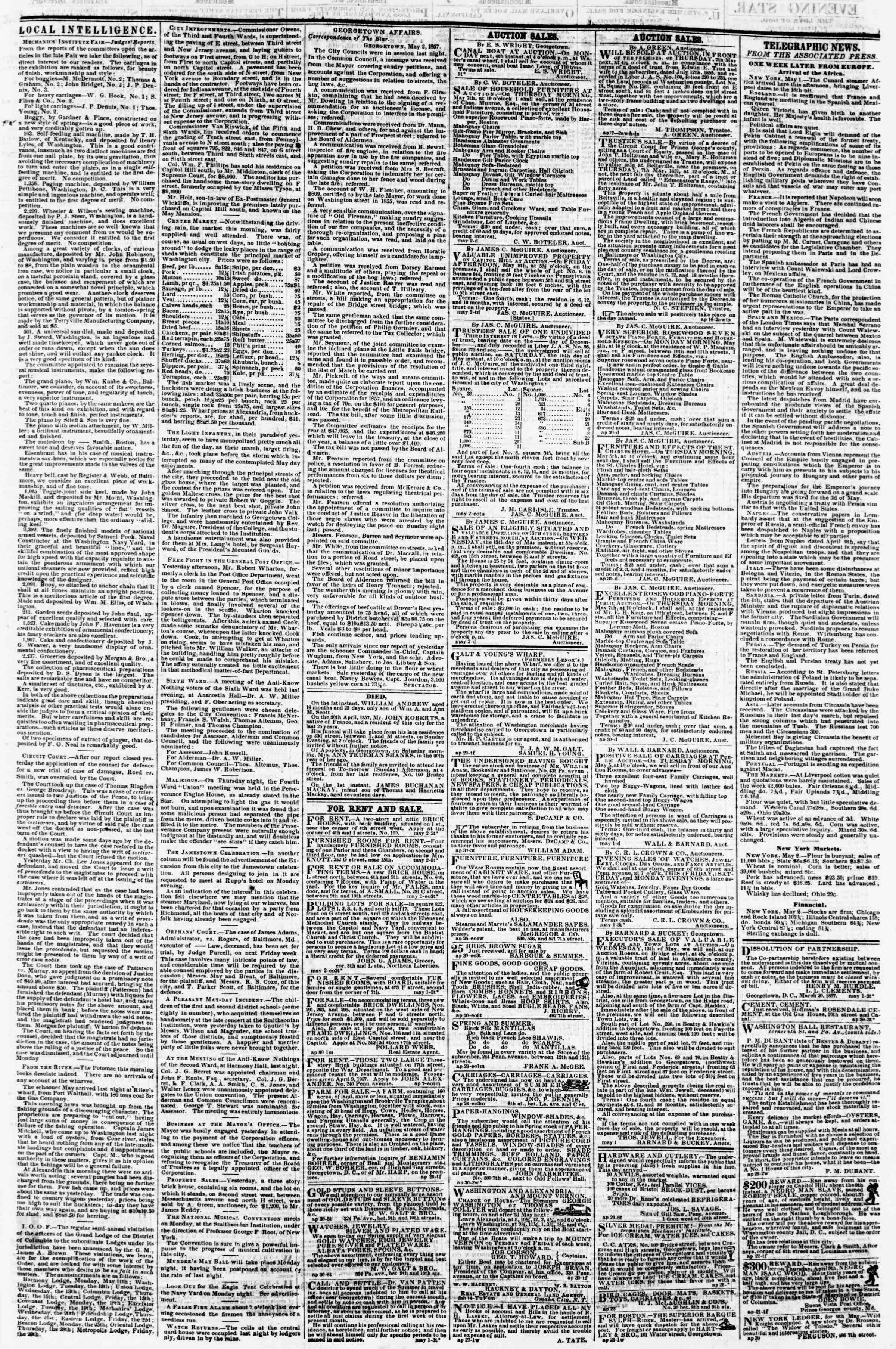 Newspaper of Evening Star dated May 2, 1857 Page 3