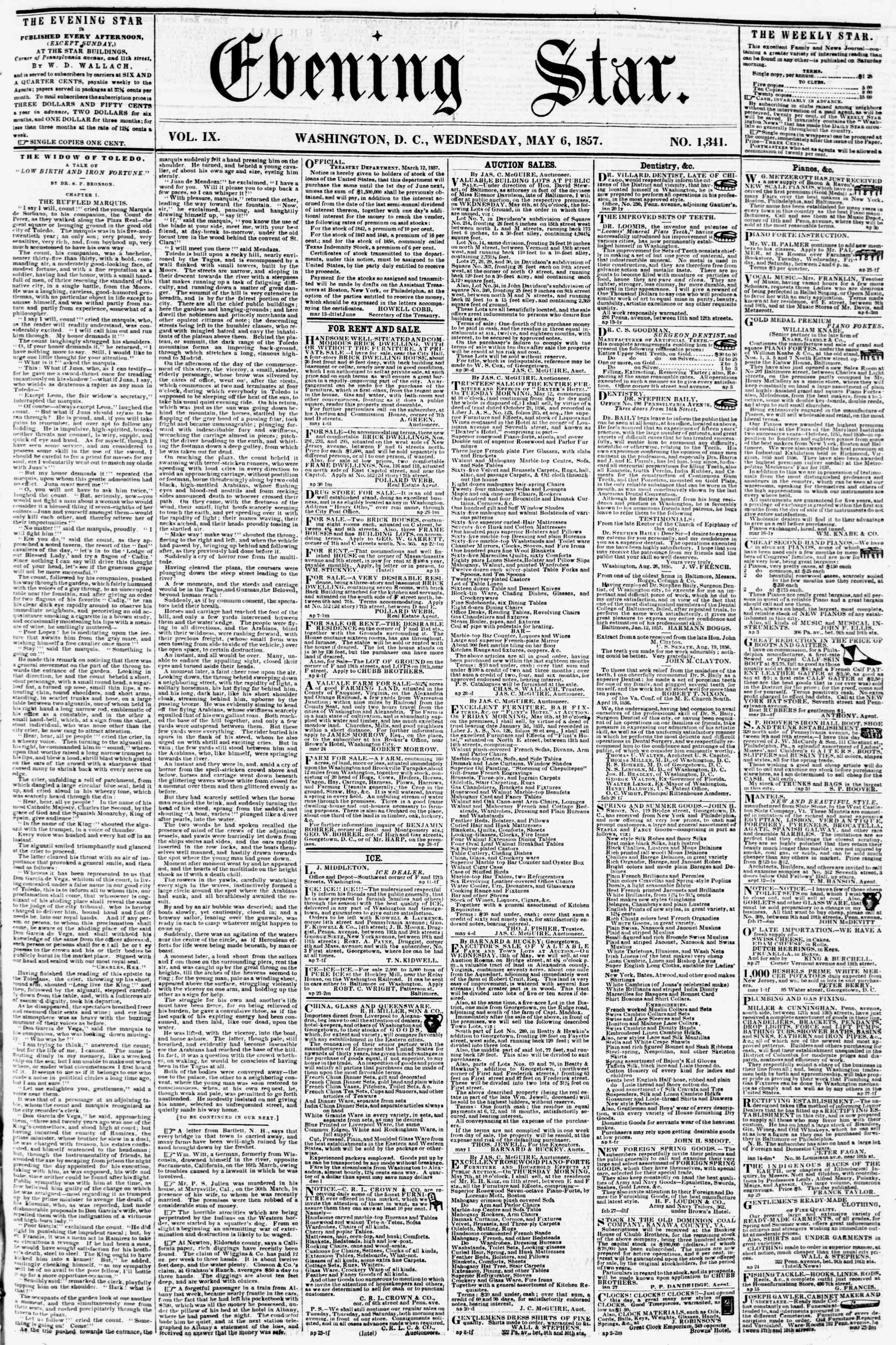 Newspaper of Evening Star dated May 6, 1857 Page 1