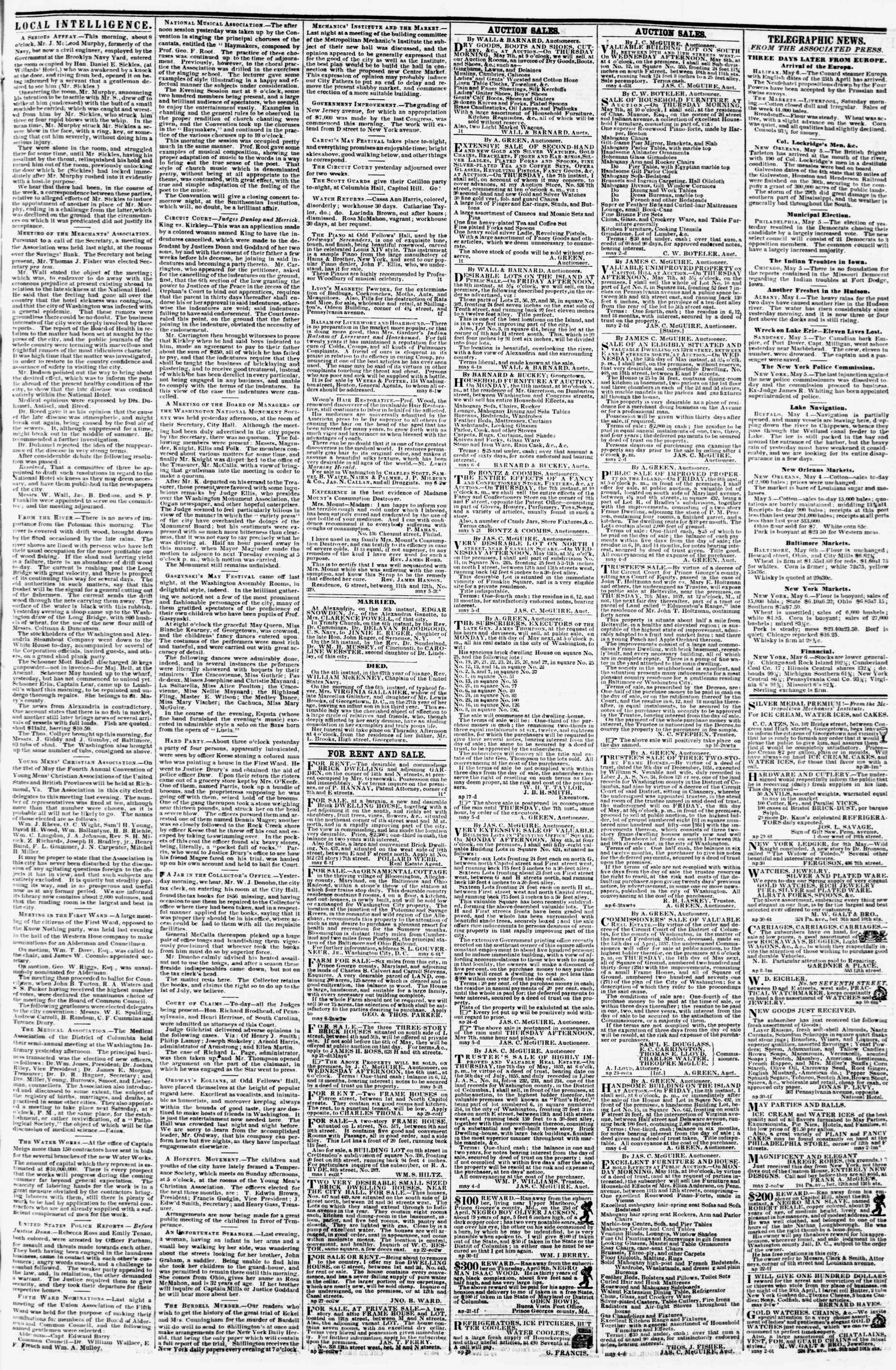 Newspaper of Evening Star dated May 6, 1857 Page 3