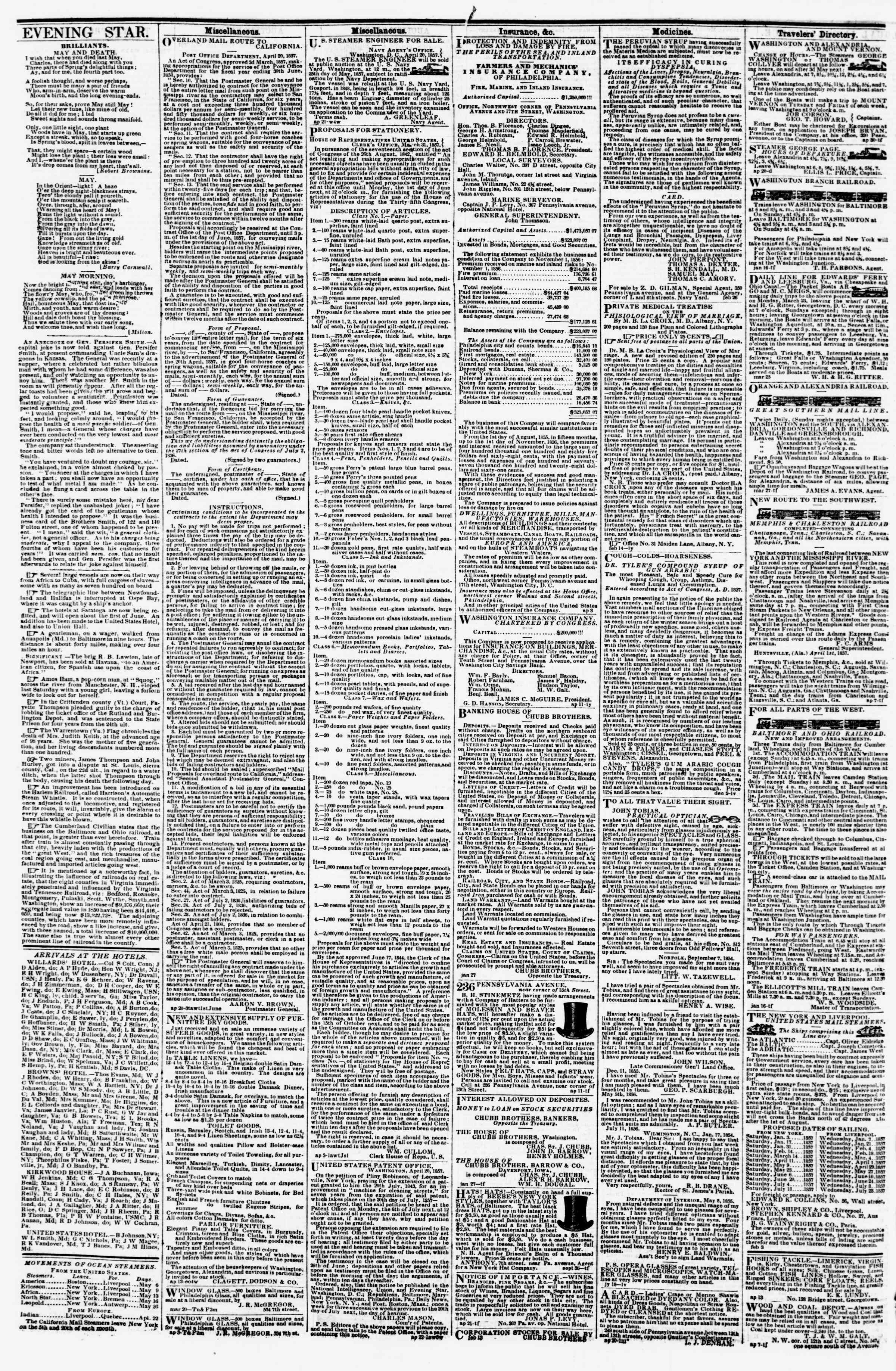 Newspaper of Evening Star dated May 6, 1857 Page 4