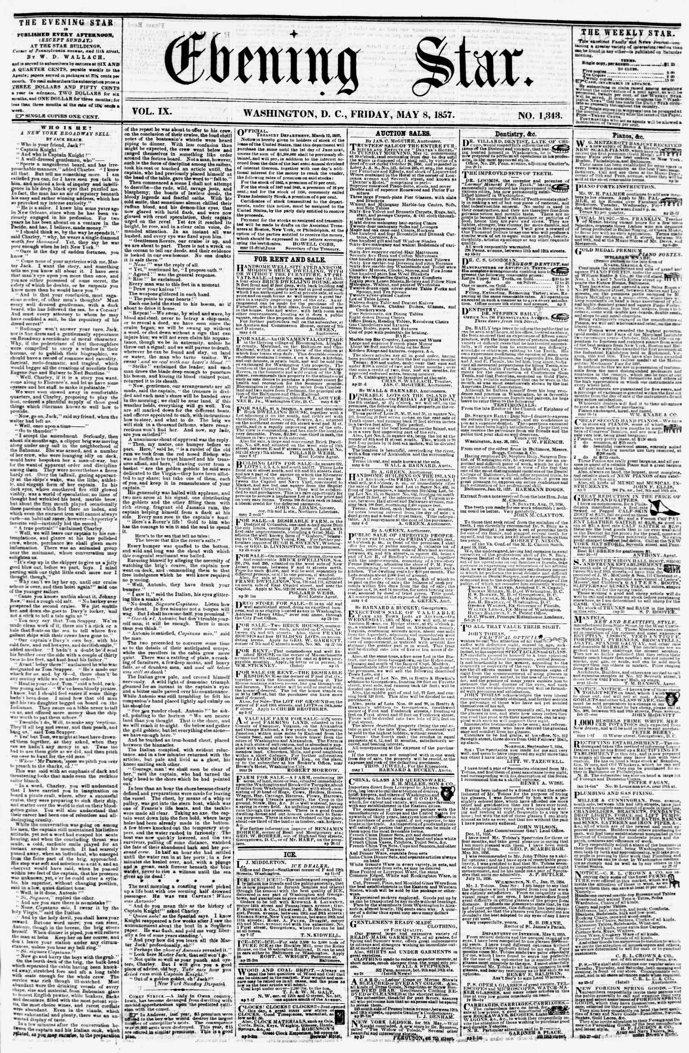 Newspaper of Evening Star dated May 8, 1857 Page 1